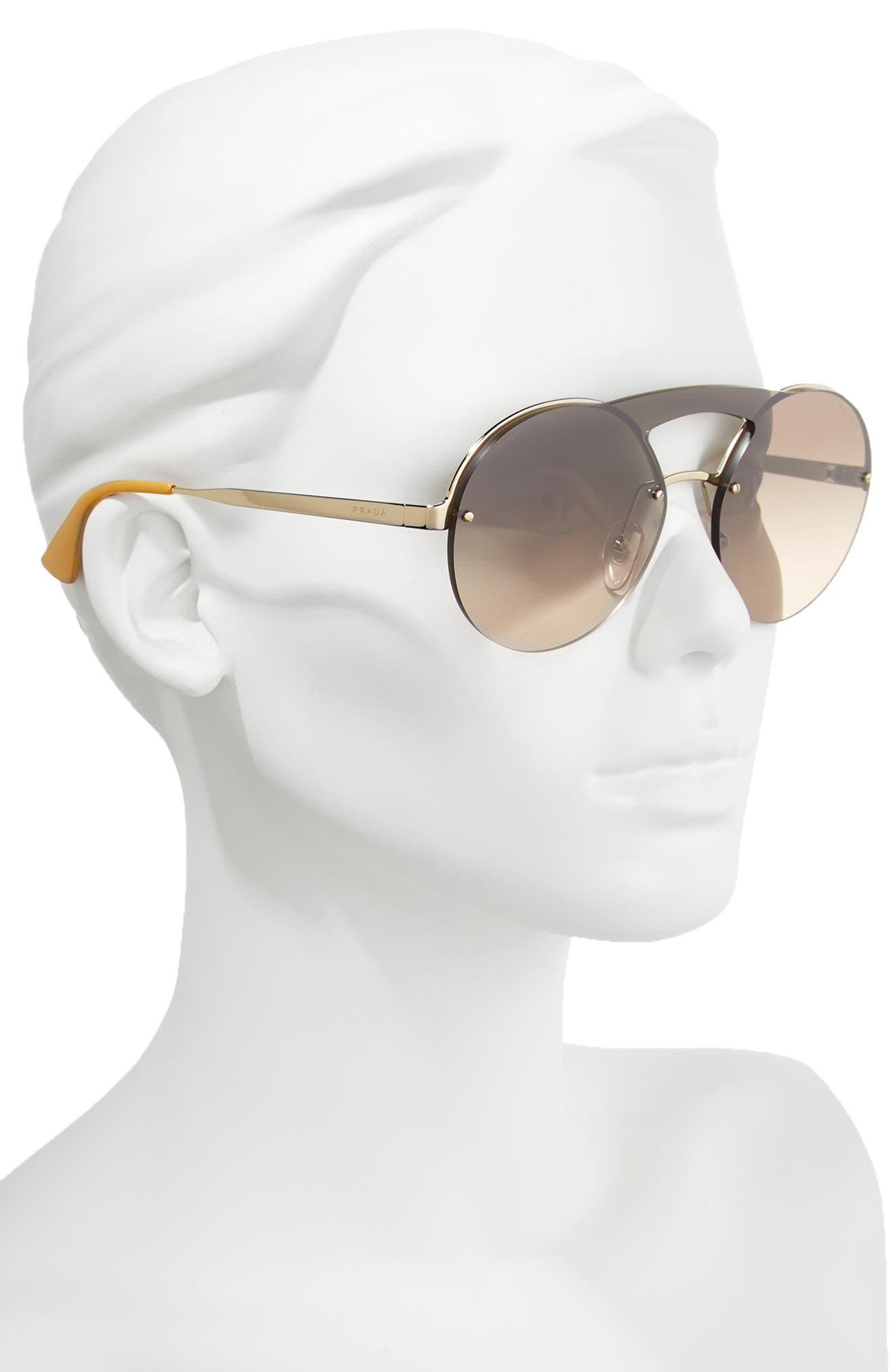 Alternate Image 2  - Prada 60mm Rimless Shield Sunglasses