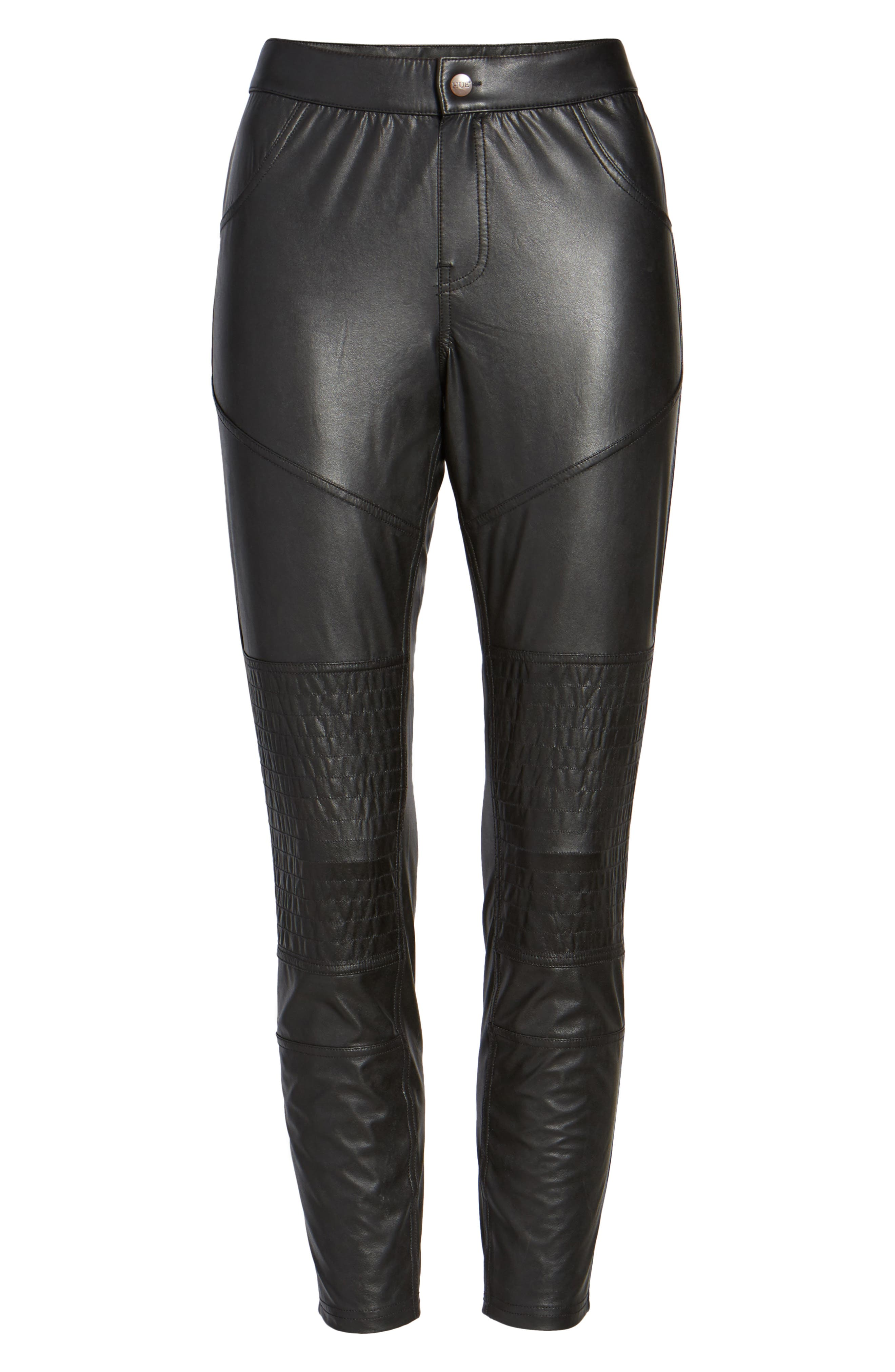 Alternate Image 4  - Hue Moto Leatherette Skimmer Leggings
