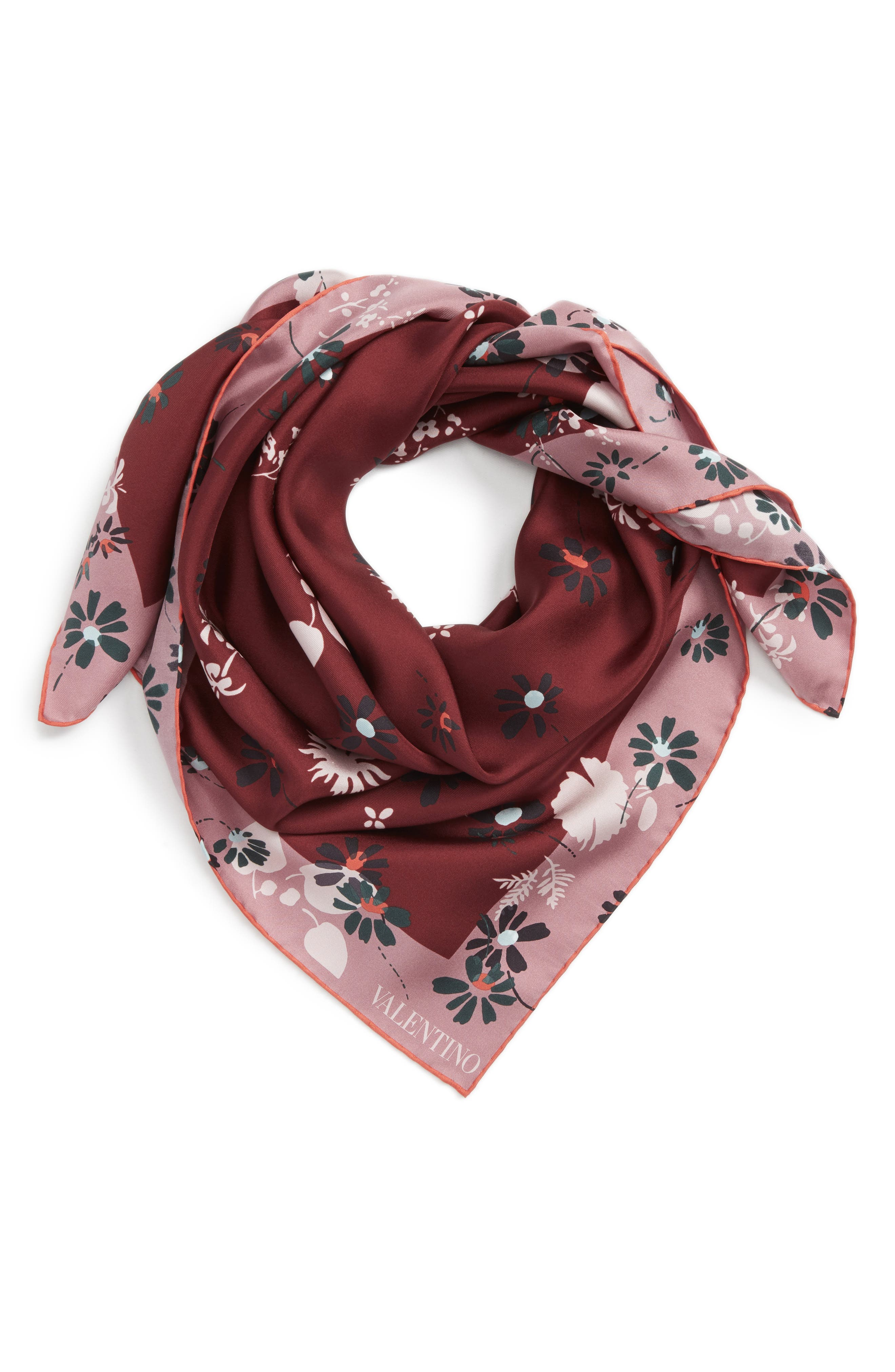 Flowers Fall Silk Scarf,                             Alternate thumbnail 2, color,                             Cassis