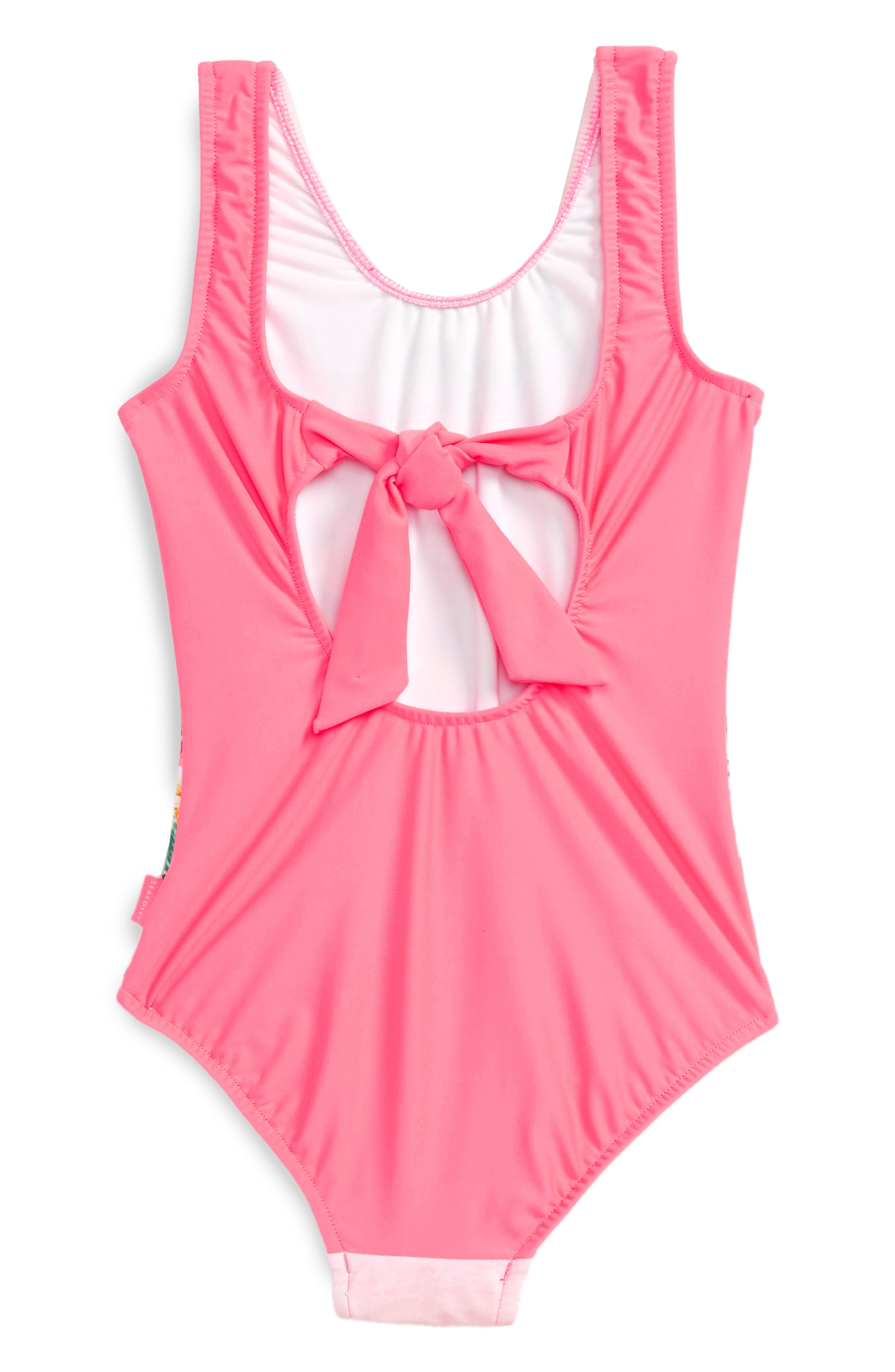 Hawaiian Rose One-Piece Swimsuit,                             Alternate thumbnail 2, color,                             Rose Pink