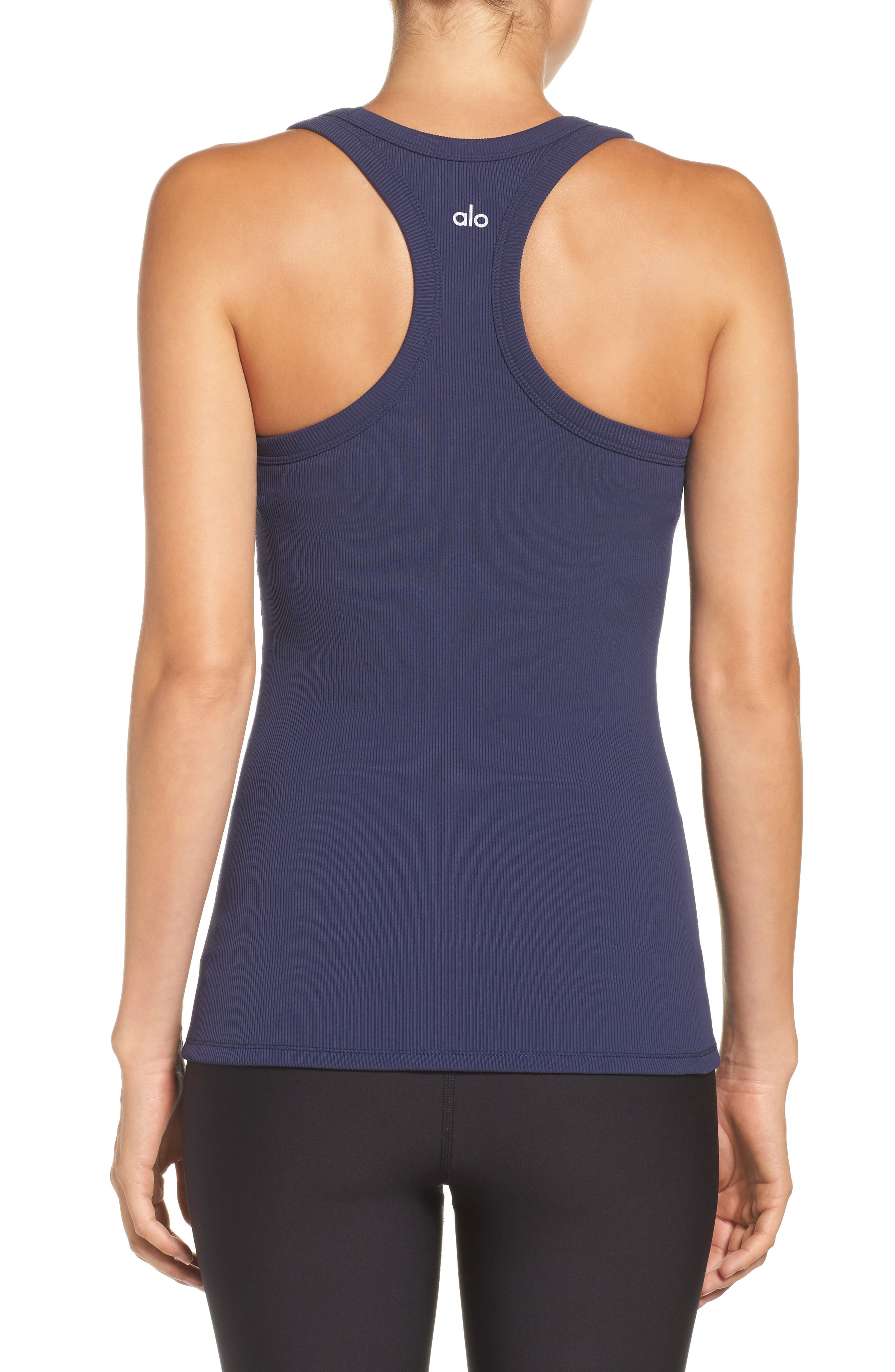 Support Ribbed Racerback Tank,                             Alternate thumbnail 2, color,                             Rich Navy