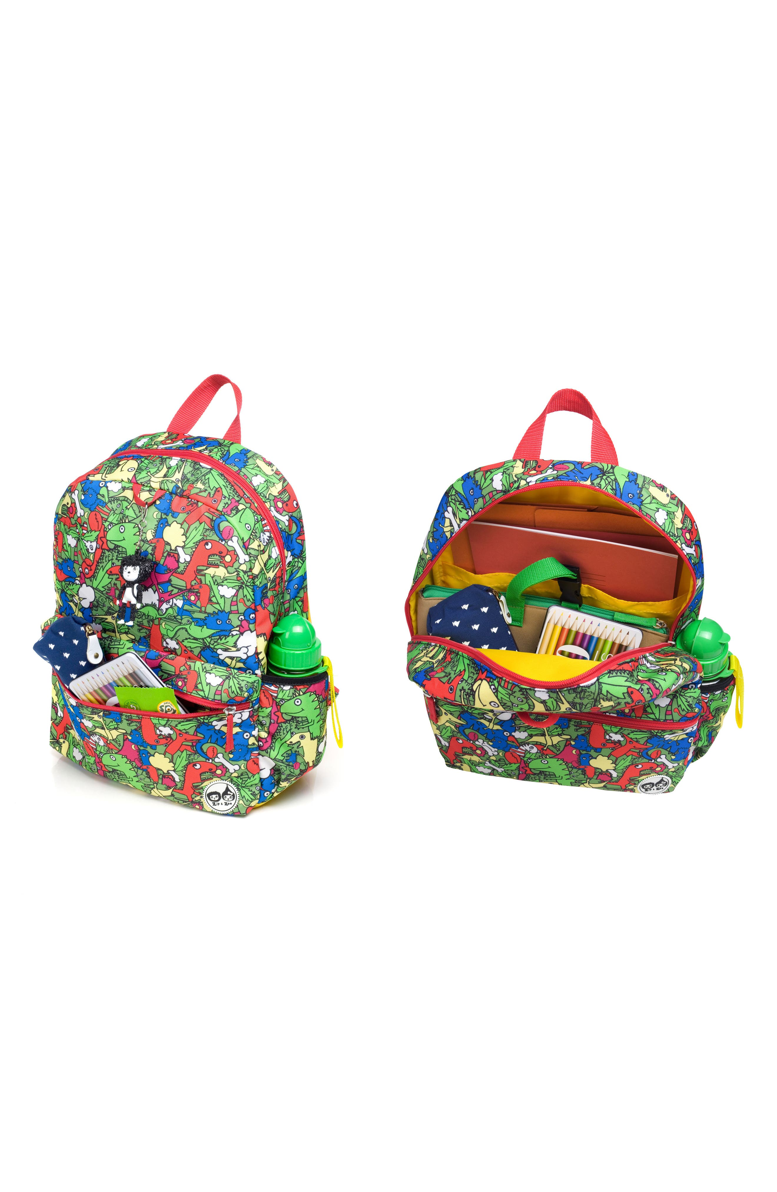 Zip & Zoe Junior Backpack Set,                             Alternate thumbnail 2, color,                             Dino Multi/ Dylan