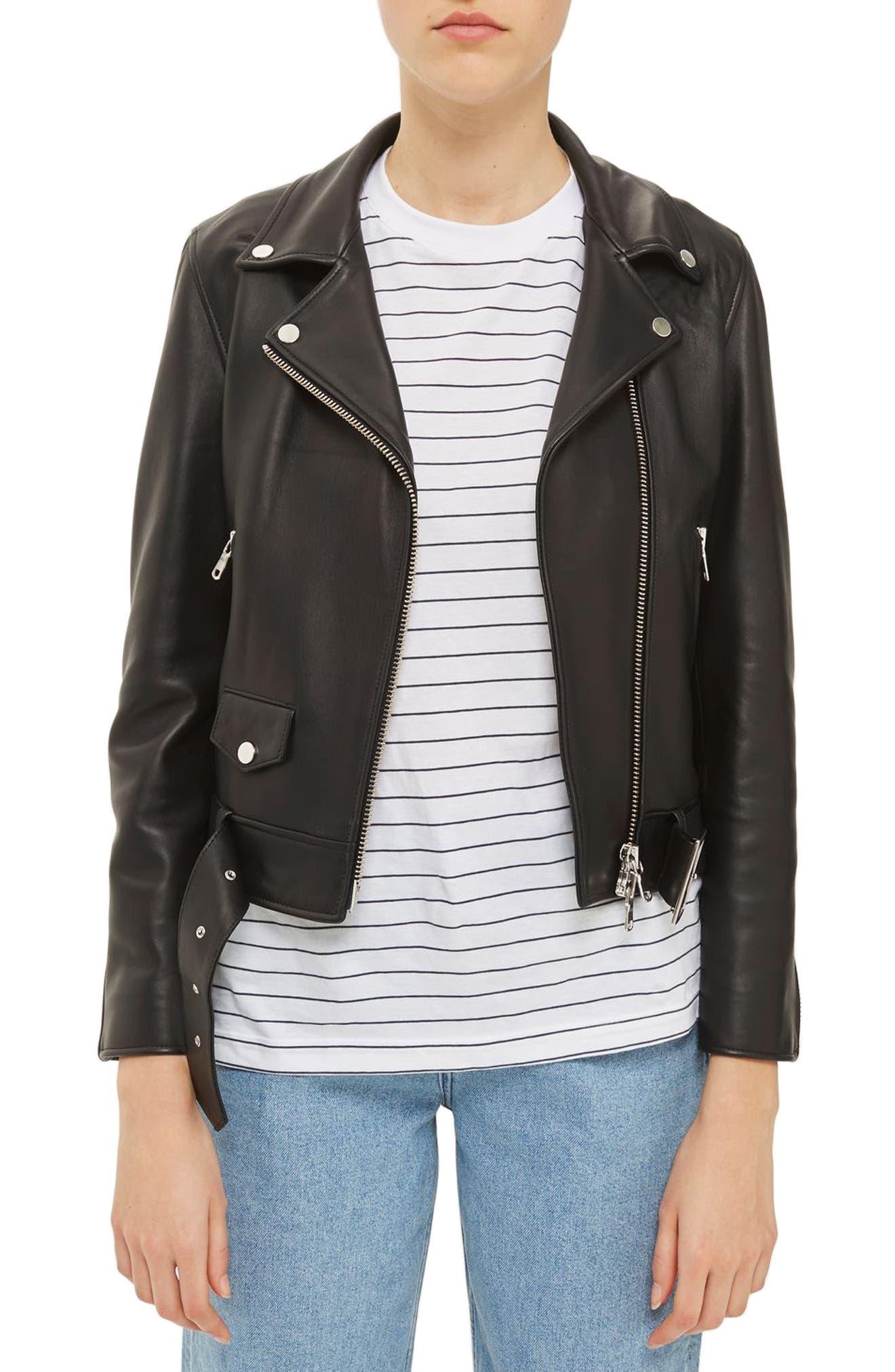 Topshop Boutique Belted Leather Biker Jacket