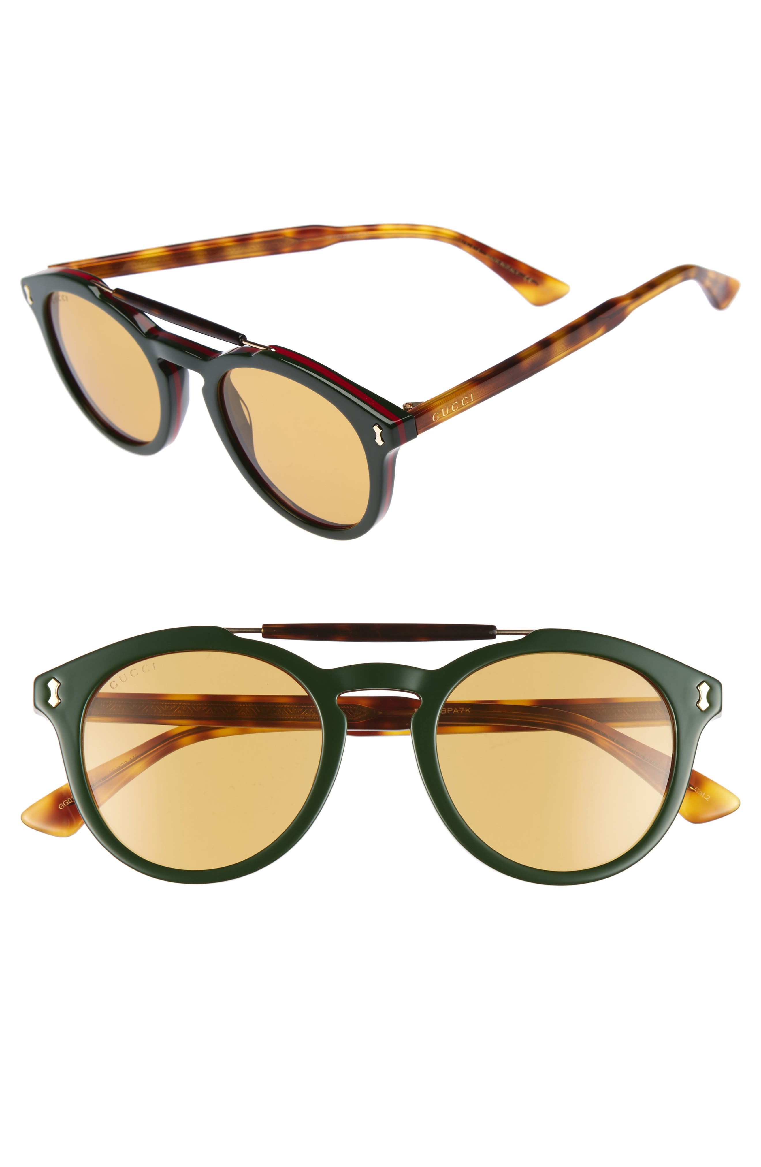 Vintage Pilot 50mm Sunglasses,                             Main thumbnail 1, color,                             Green-Red Web/ Nicotine