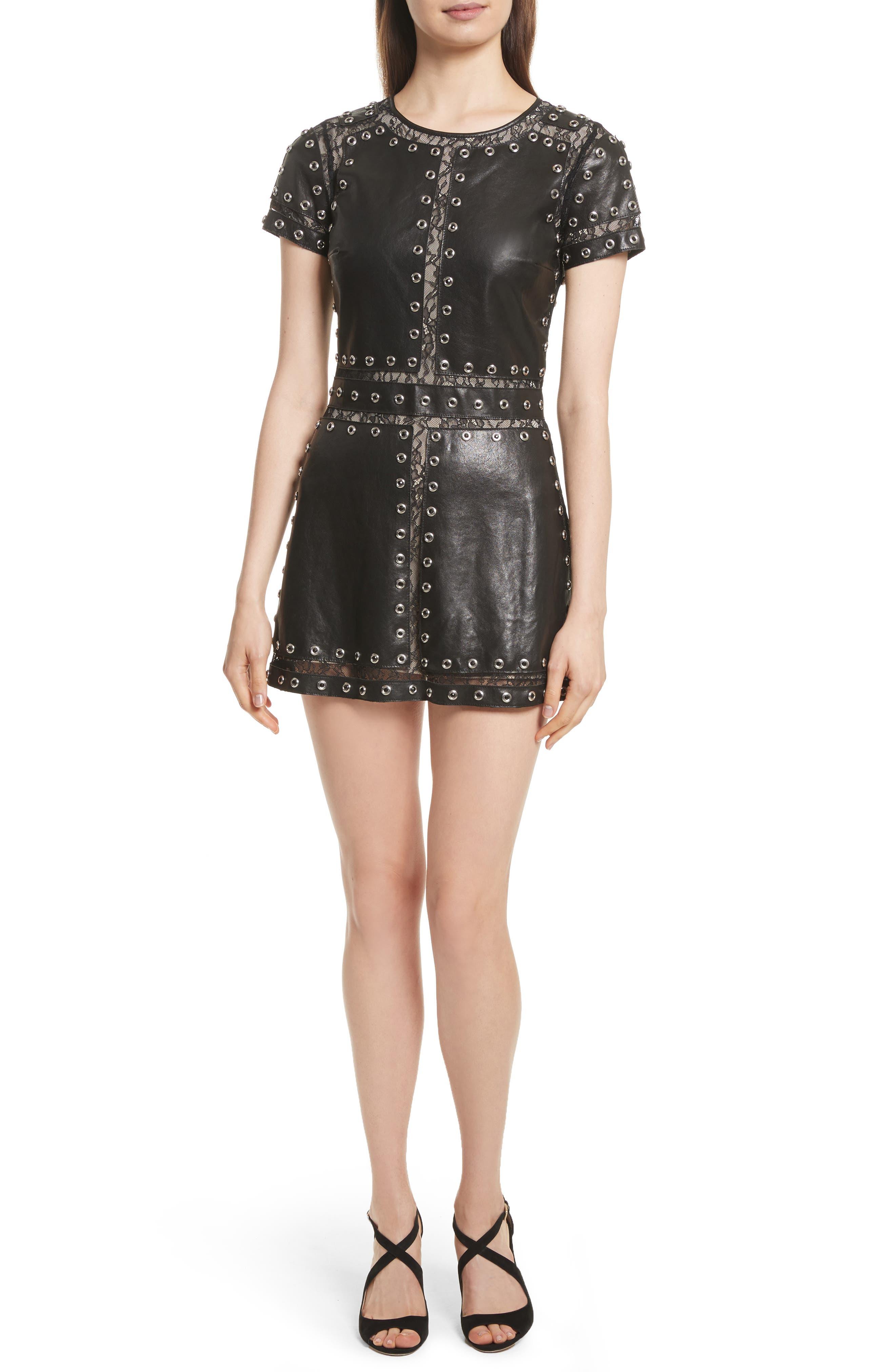 Tahlia Embellished Leather Panel A-Line Dress,                             Main thumbnail 1, color,                             Black