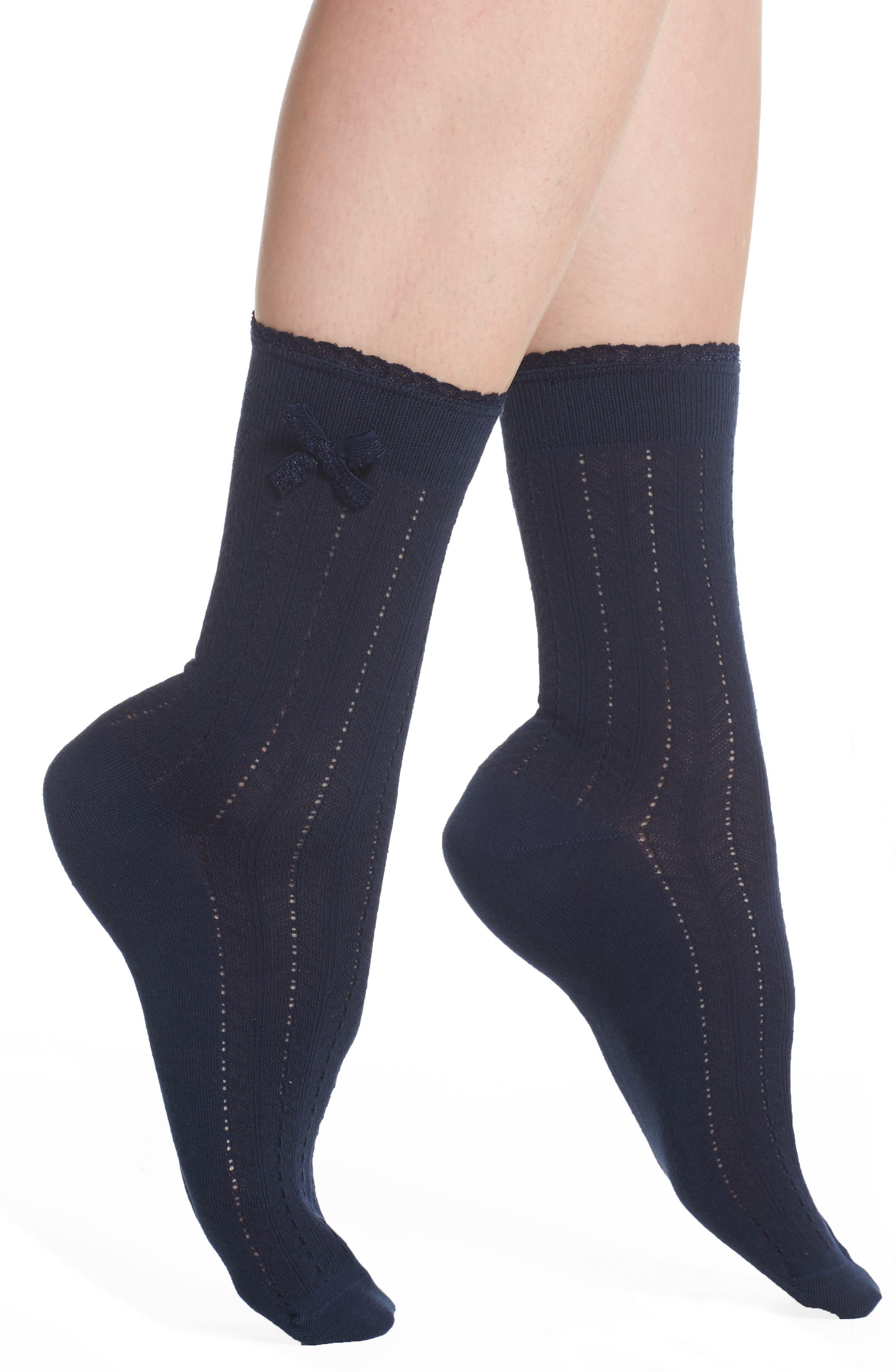 Nordstrom Bow Pointelle Crew Socks
