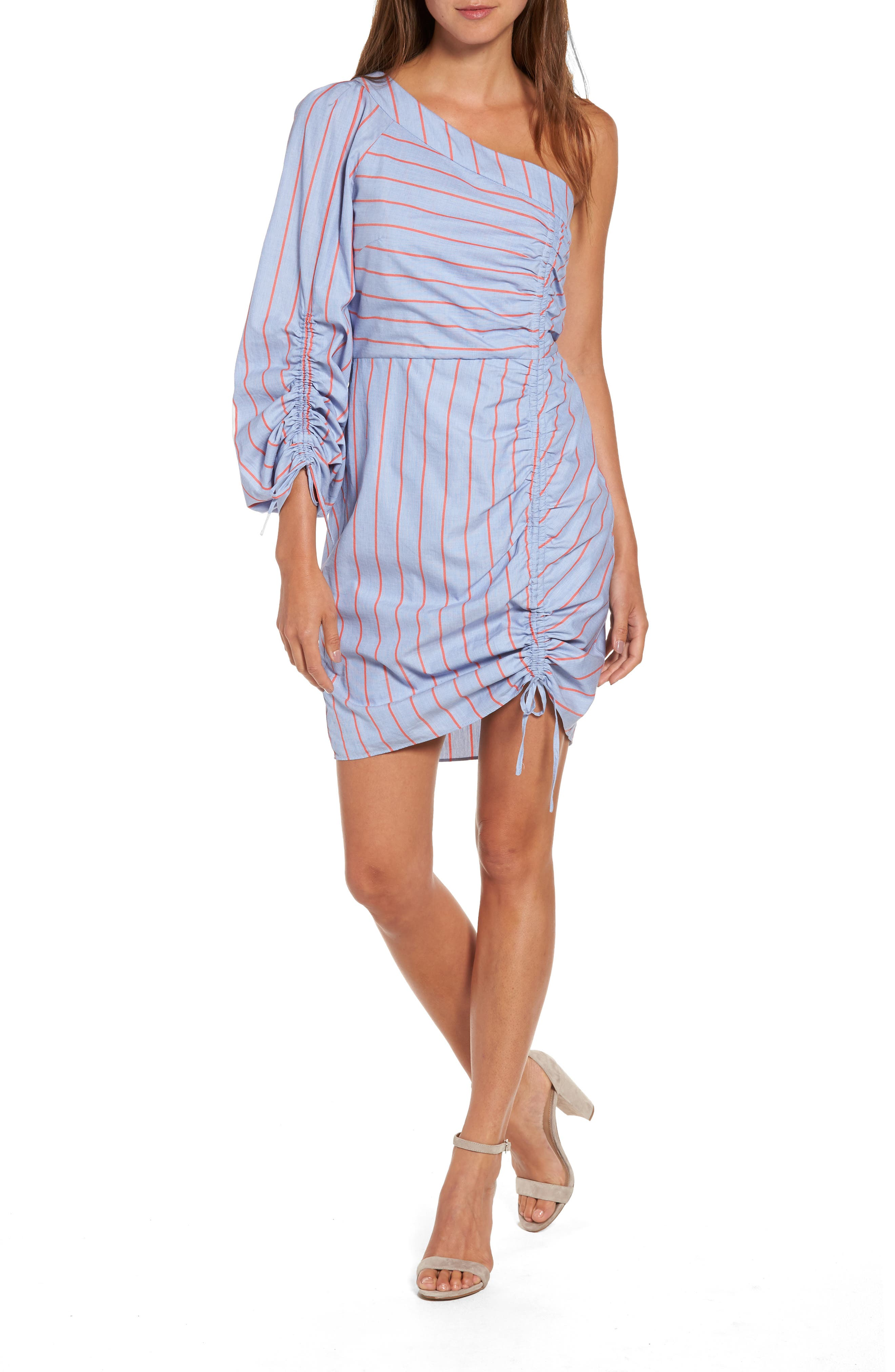 Harmond One-Shoulder Dress,                         Main,                         color, Blue Canvas