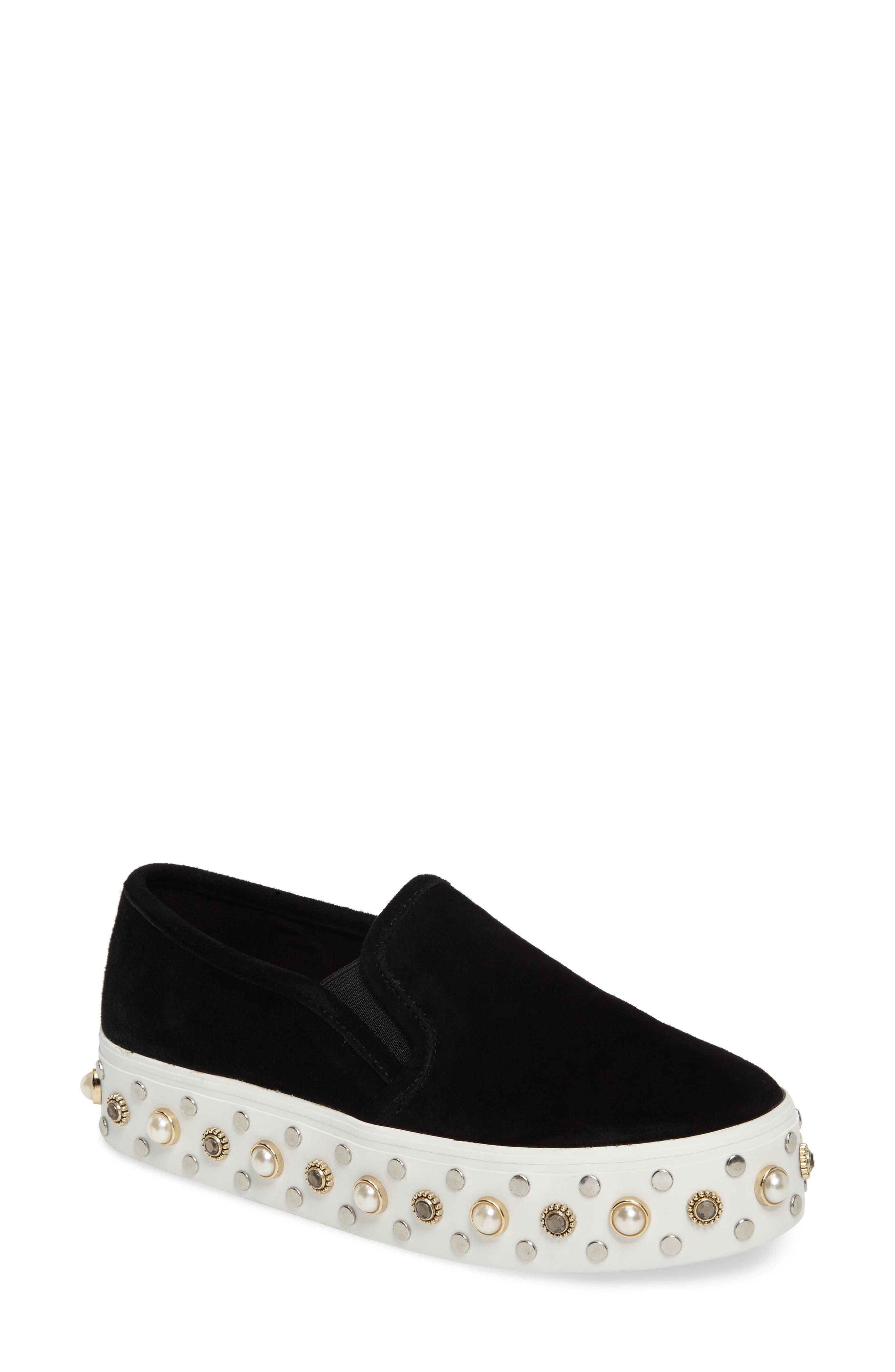Glitzy Slip-On Sneaker,                             Main thumbnail 1, color,                             Black Suede