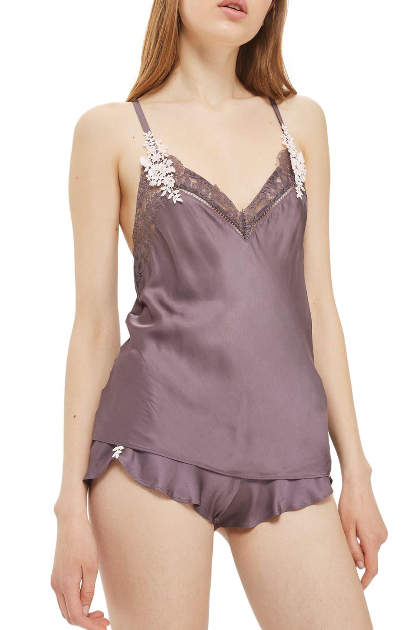 Main Image - Topshop Boheme Lace & Satin Short Pajamas