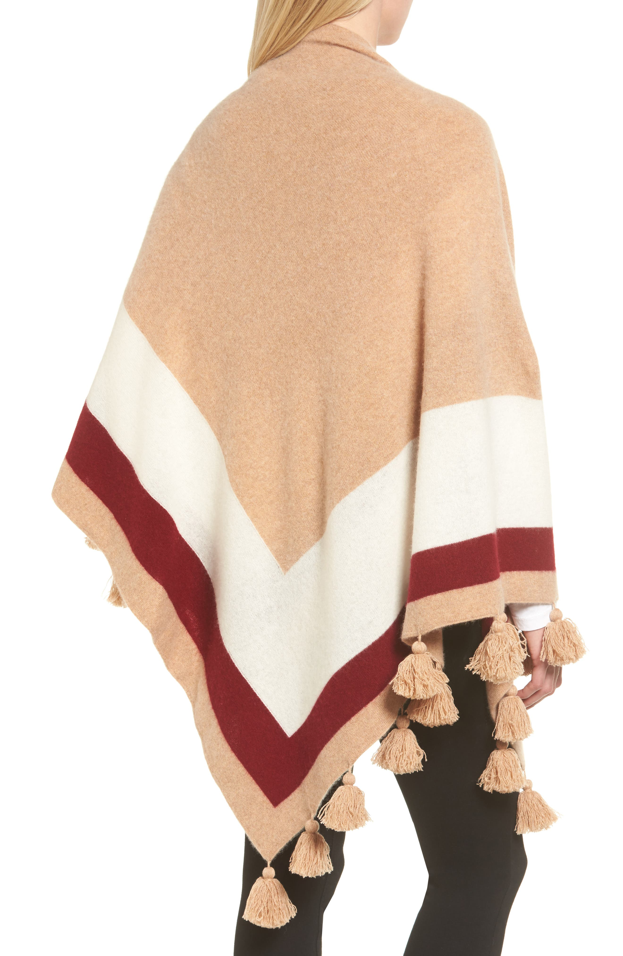 Tassel Trim Cashmere Wrap,                             Alternate thumbnail 2, color,                             Tan Camel Heather Combo