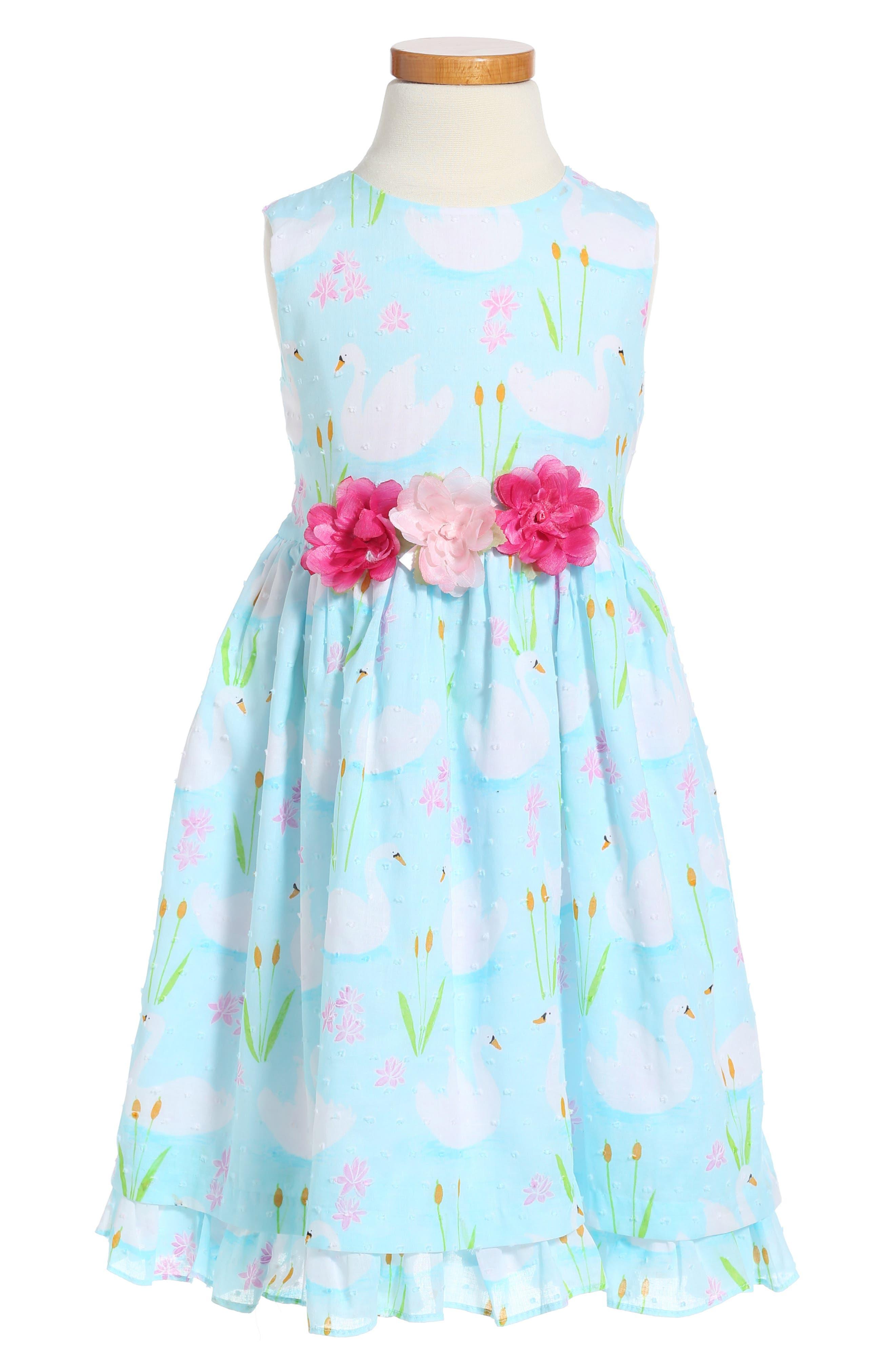 Pippa & Julie Swan Print Dress (Toddler Girls & Little Girls)