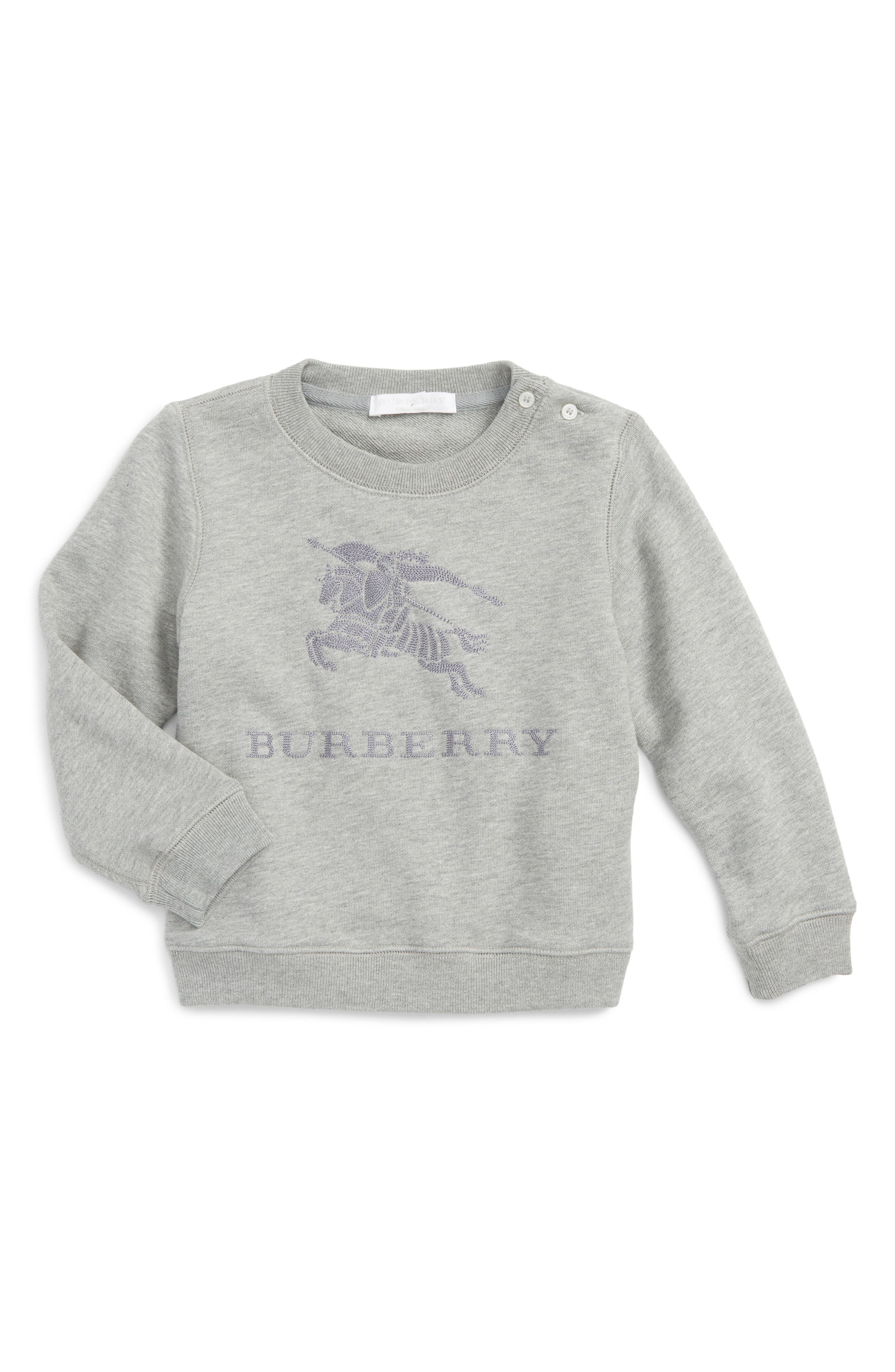 Main Image - Burberry Tom Embroidered Pullover (Toddler Boys)
