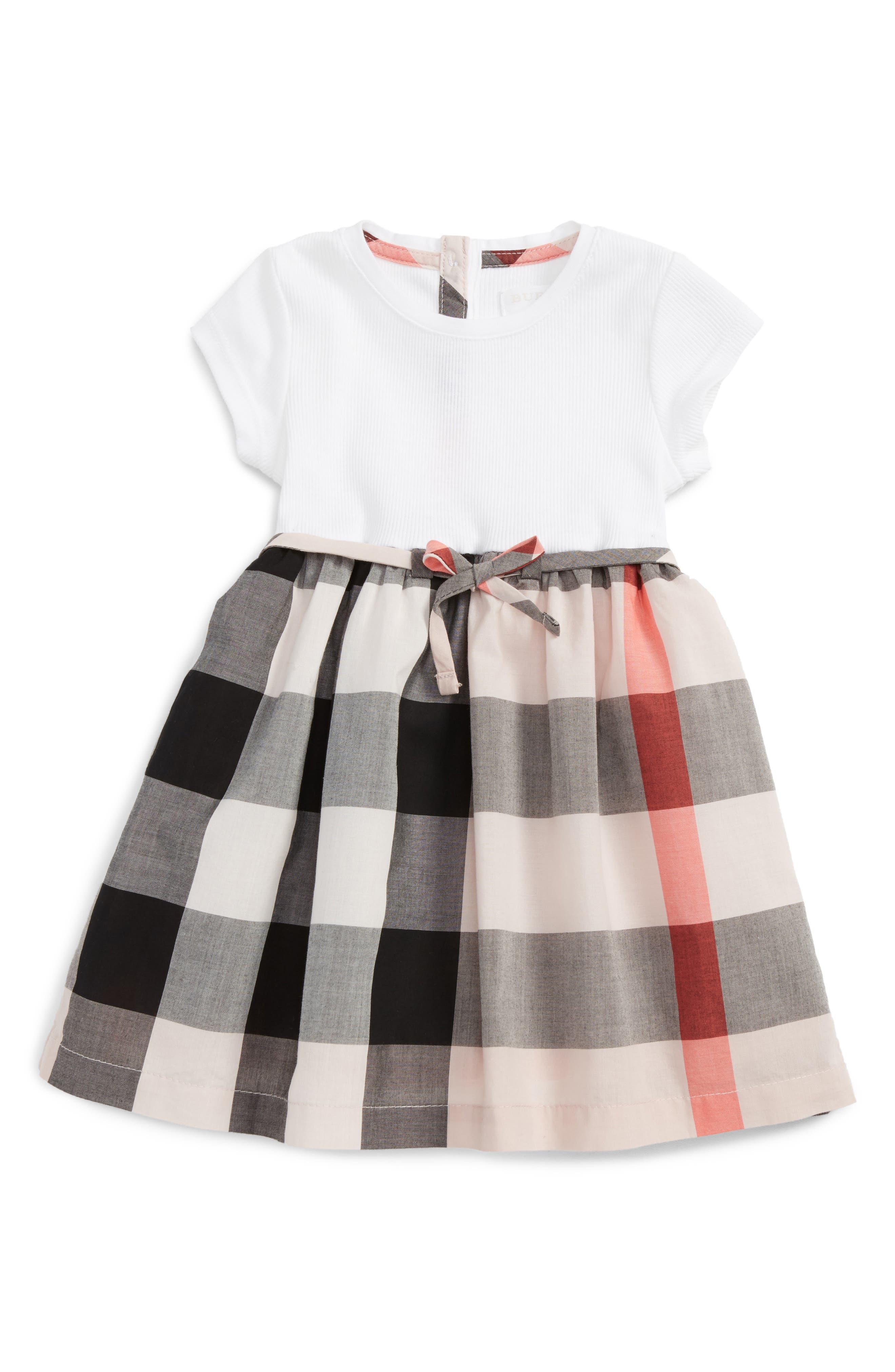 Main Image - Burberry Mini Rose Dress (Baby Girls)