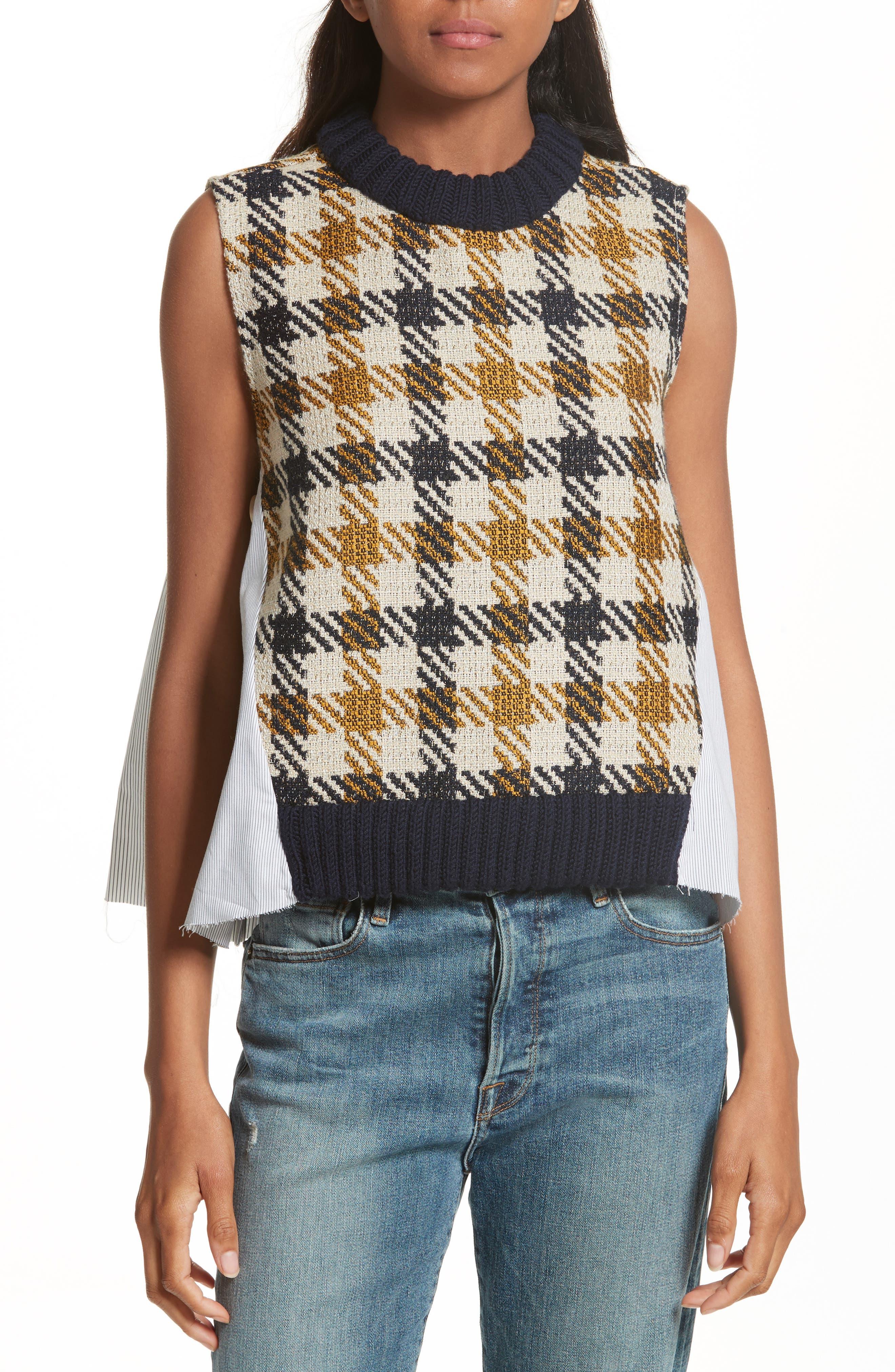 Combo Vest,                         Main,                         color, Cream/ Black/ Yellow Multi