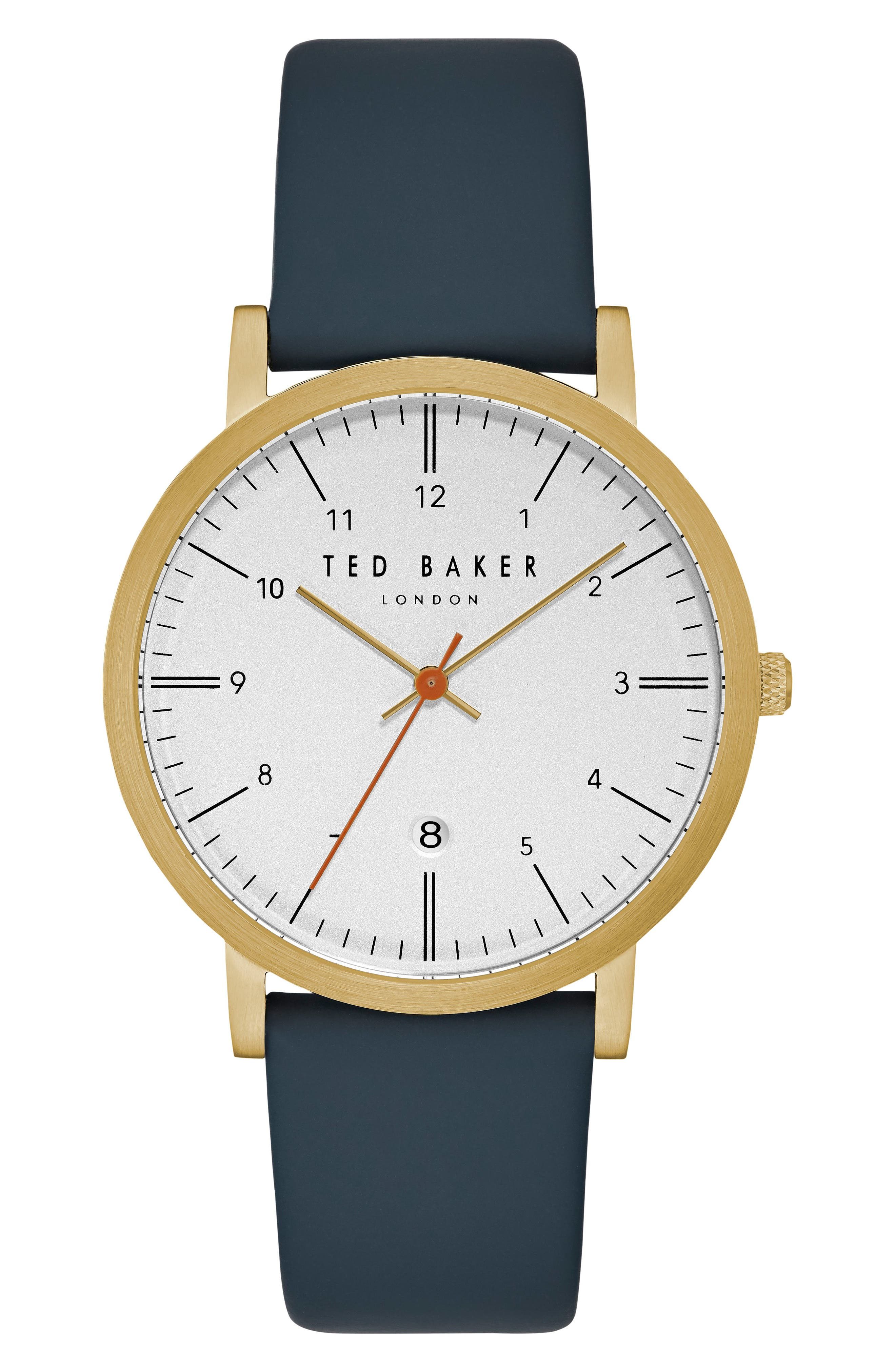Alternate Image 1 Selected - Ted Baker London Samuel Slim Leather Strap Watch, 40mm