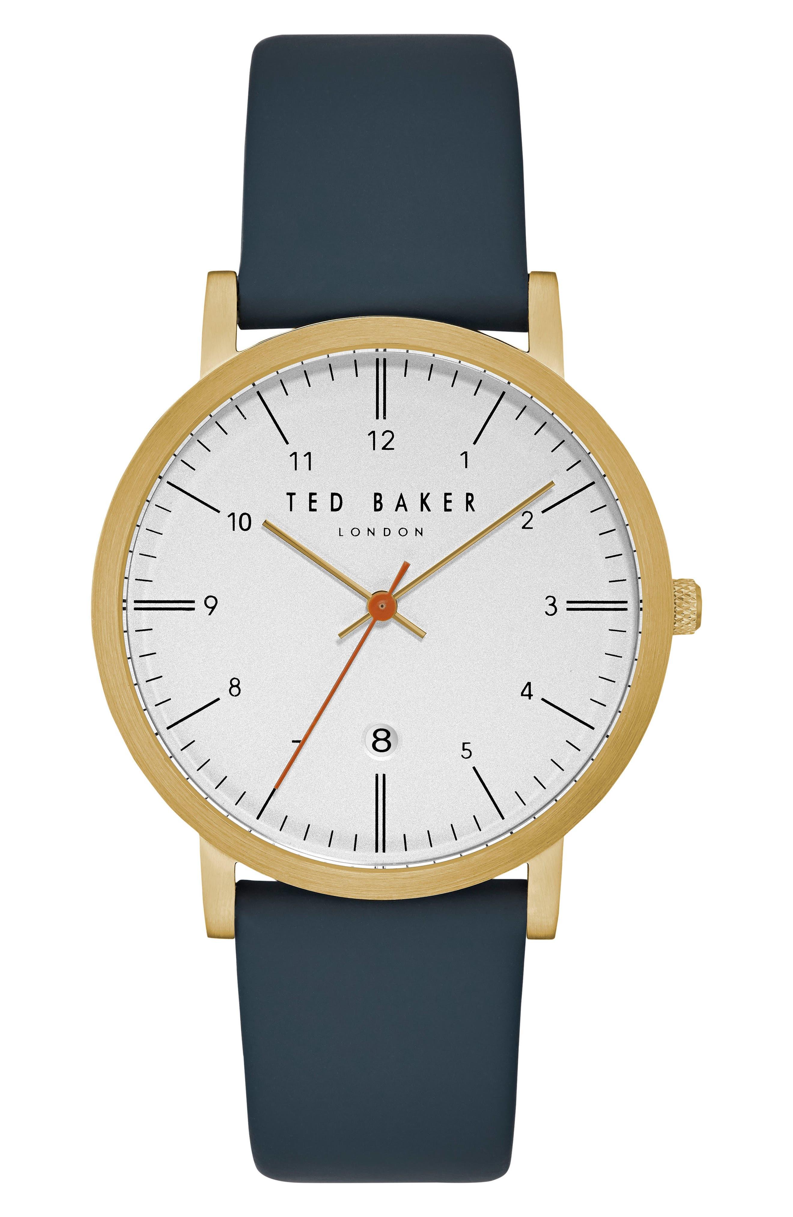 Samuel Slim Leather Strap Watch, 40mm,                         Main,                         color, Blue/ Light Grey