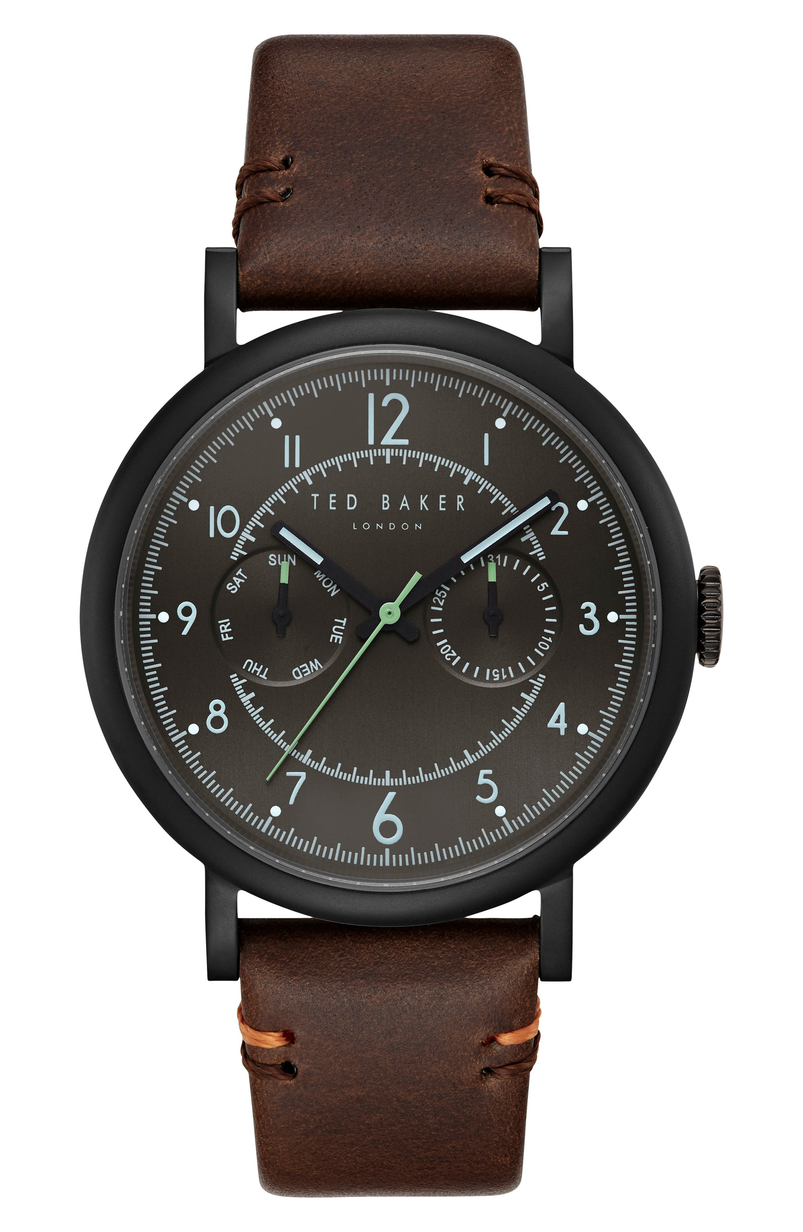 Aiden Multifunction Leather Strap Watch, 41mm,                         Main,                         color, Black/ Dark Brown