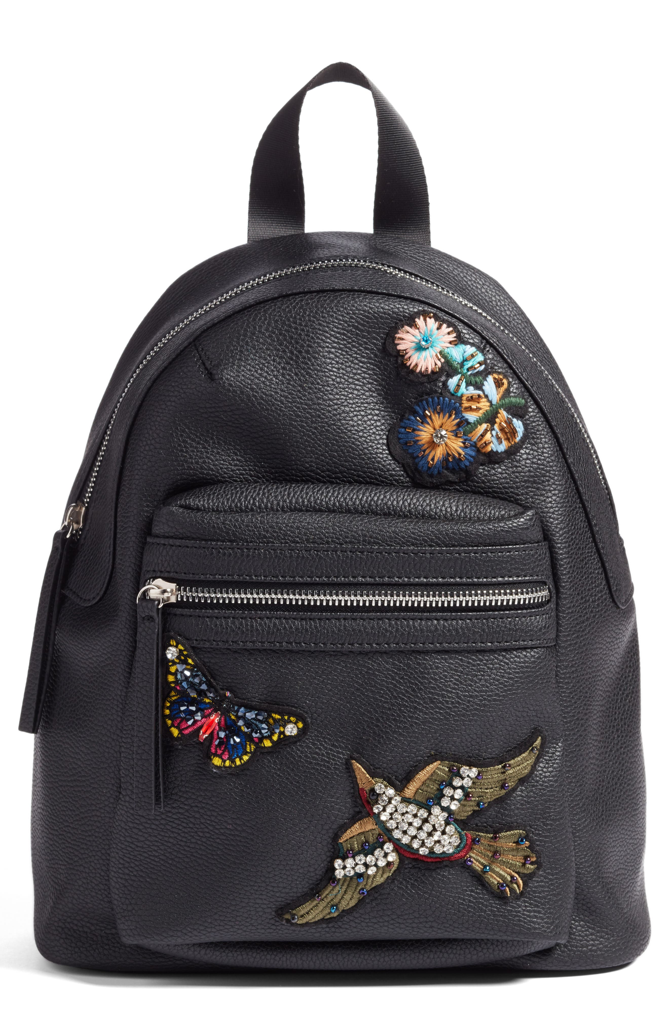 Hannah Banana Faux Leather Jewel Patch Backpack