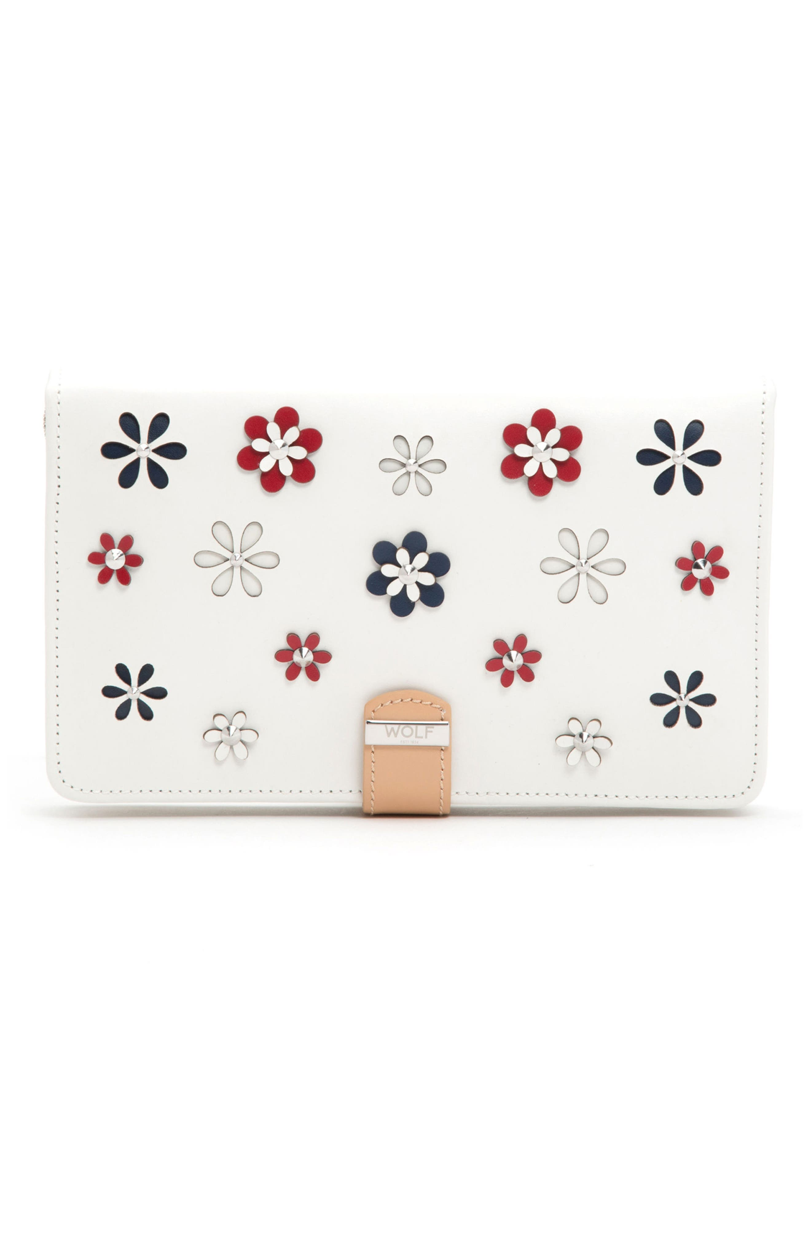 Blossom Leather Jewelry Portfolio,                             Main thumbnail 1, color,                             Ivory