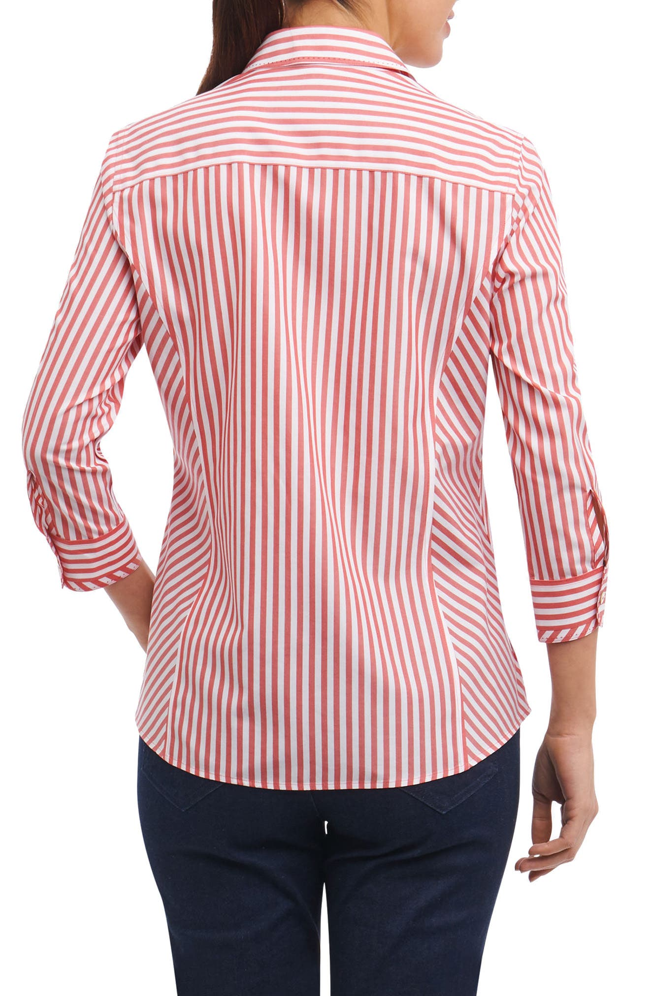 Hope Preppy Stripe Cotton Shirt,                             Alternate thumbnail 2, color,                             Brick