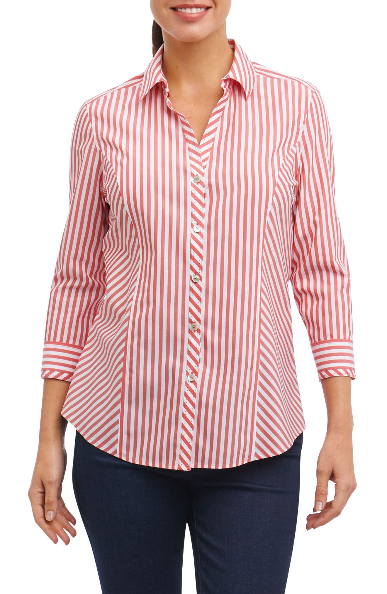 Hope Preppy Stripe Cotton Shirt,                             Main thumbnail 1, color,                             Brick