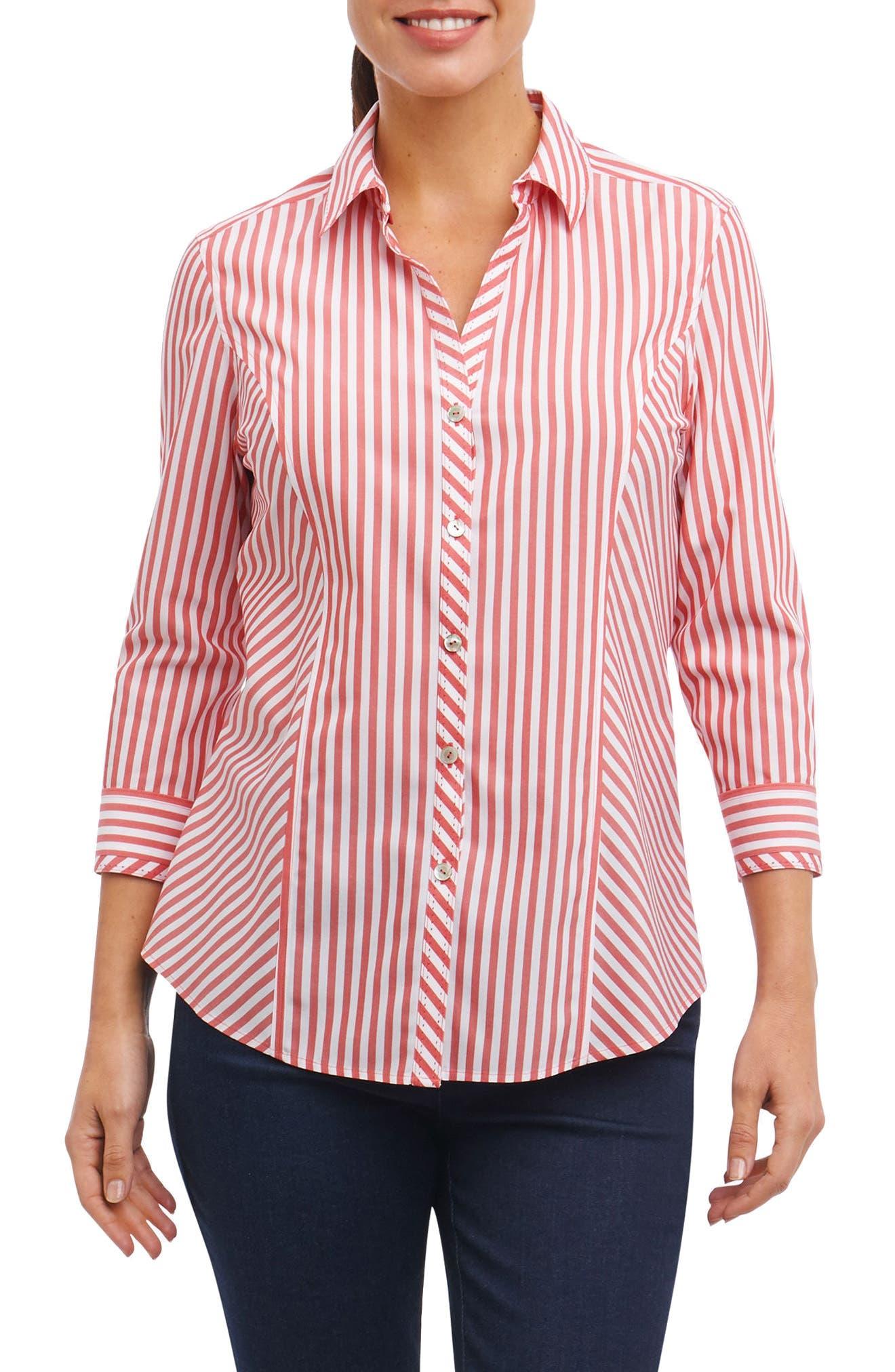 Hope Preppy Stripe Cotton Shirt,                         Main,                         color, Brick
