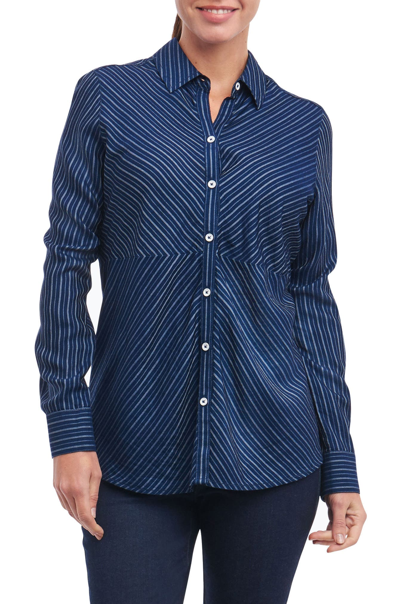 Hazel Pinstripe Shirt,                             Main thumbnail 1, color,                             Navy