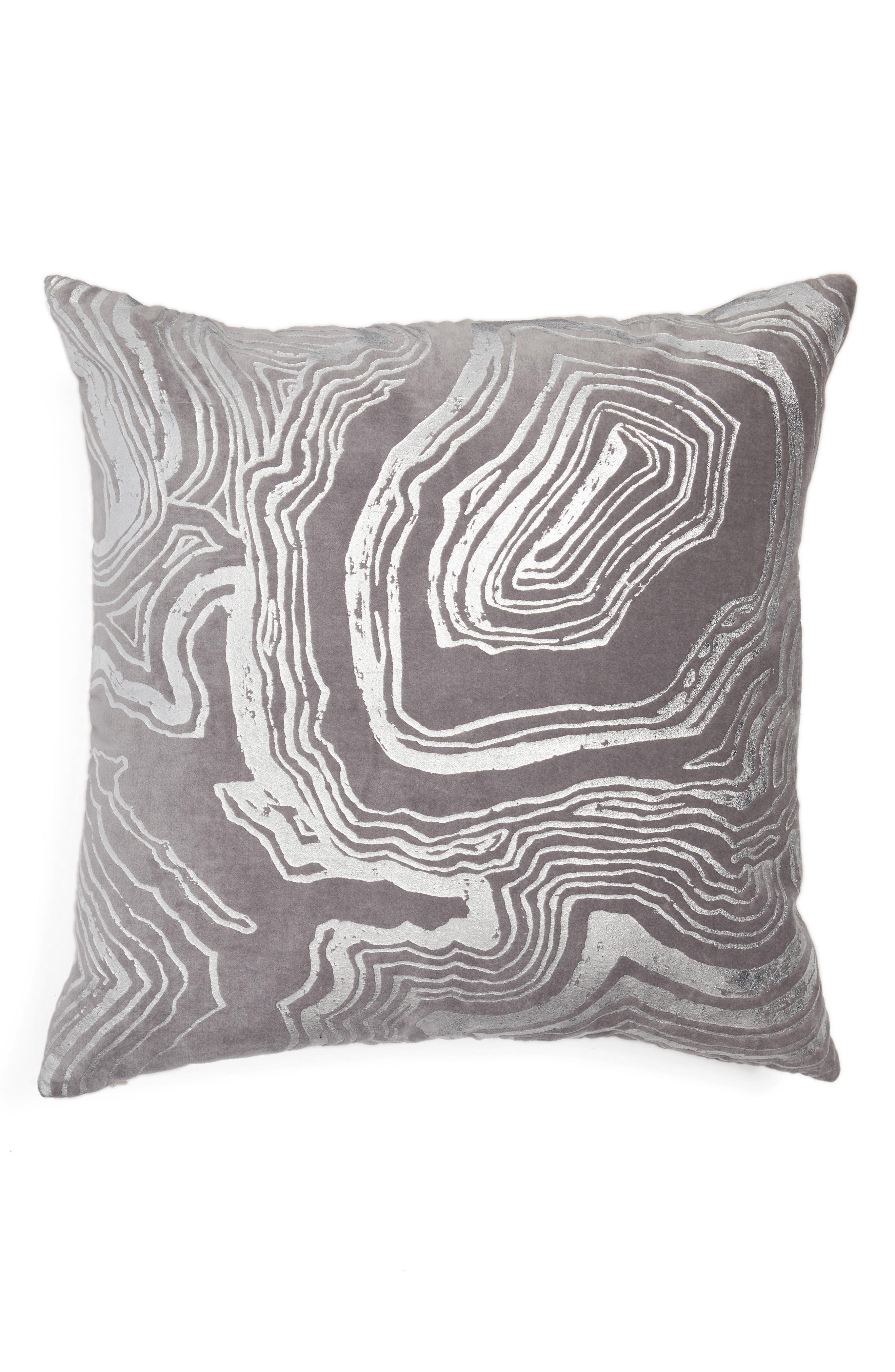 Foil Print Pillow,                         Main,                         color, Grey Frost