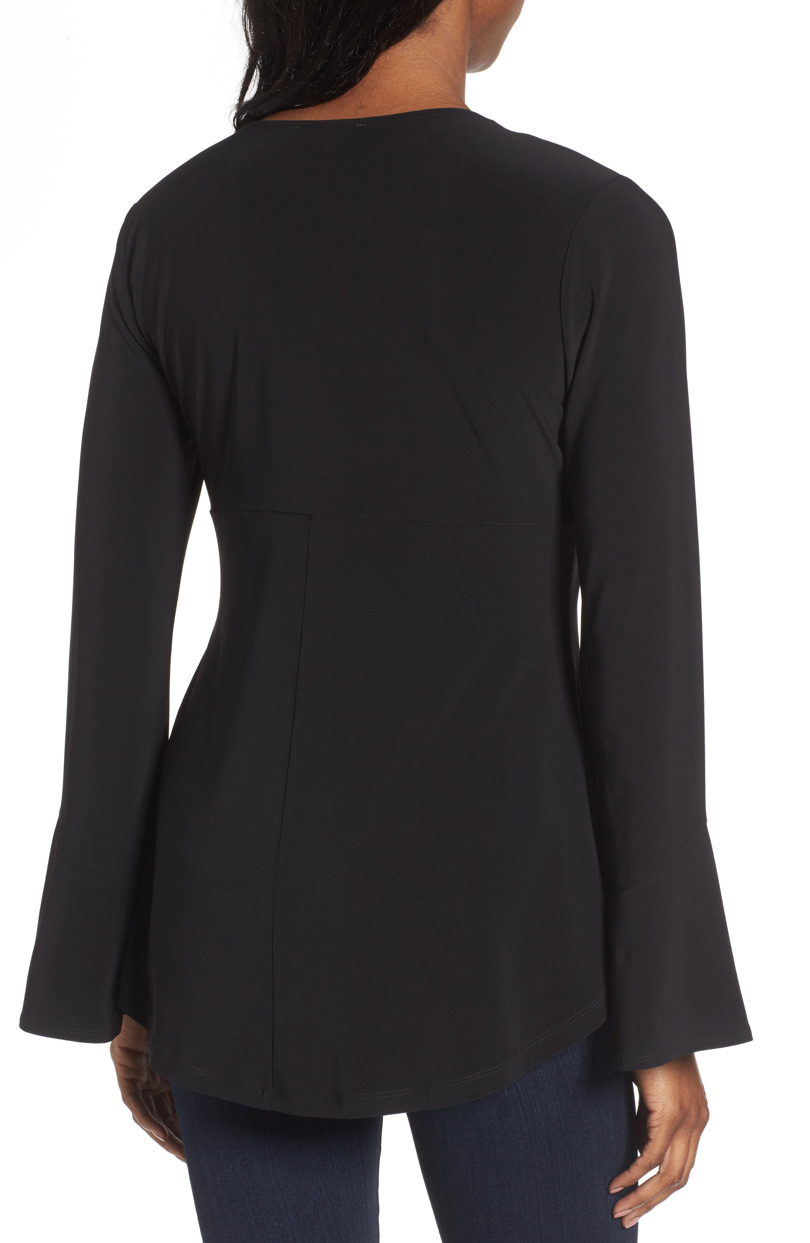 Alternate Image 2  - Chaus Zip Front Flounce Sleeve Top