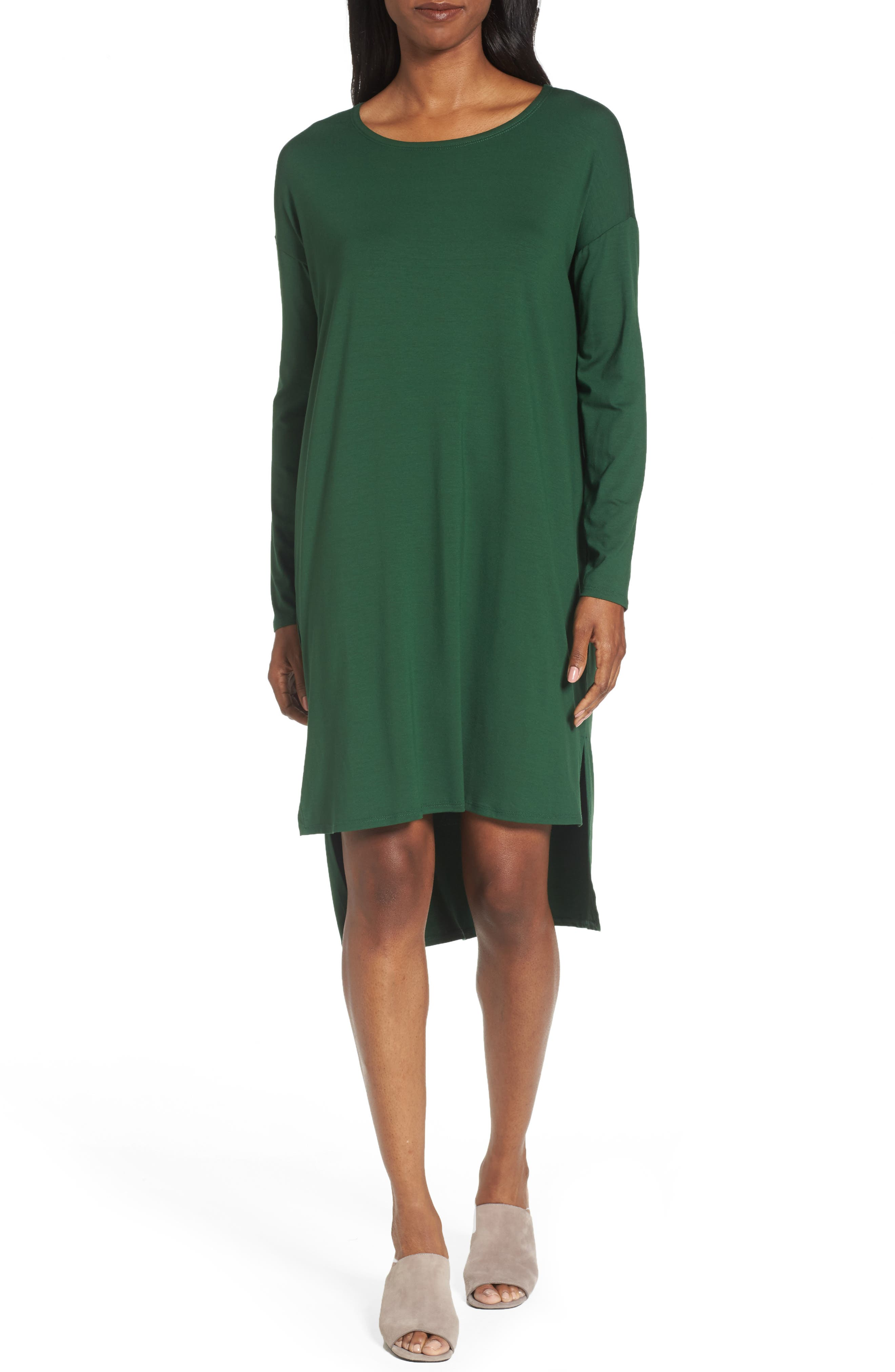 Alternate Image 1 Selected - Eileen Fisher High/Low Jersey Shift Dress (Regular & Petite)