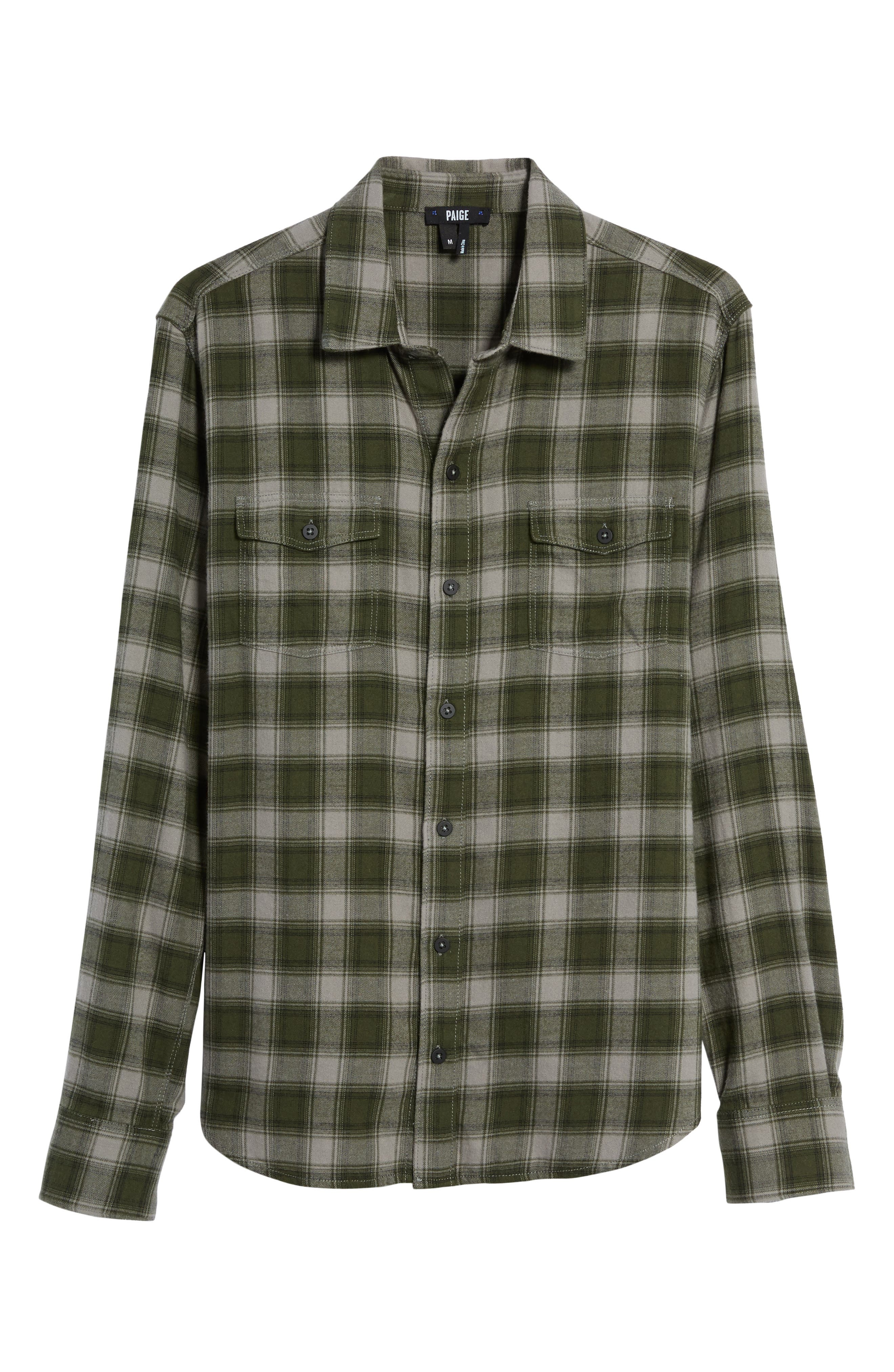 Everett Plaid Sport Shirt,                             Alternate thumbnail 5, color,                             Green Dusk