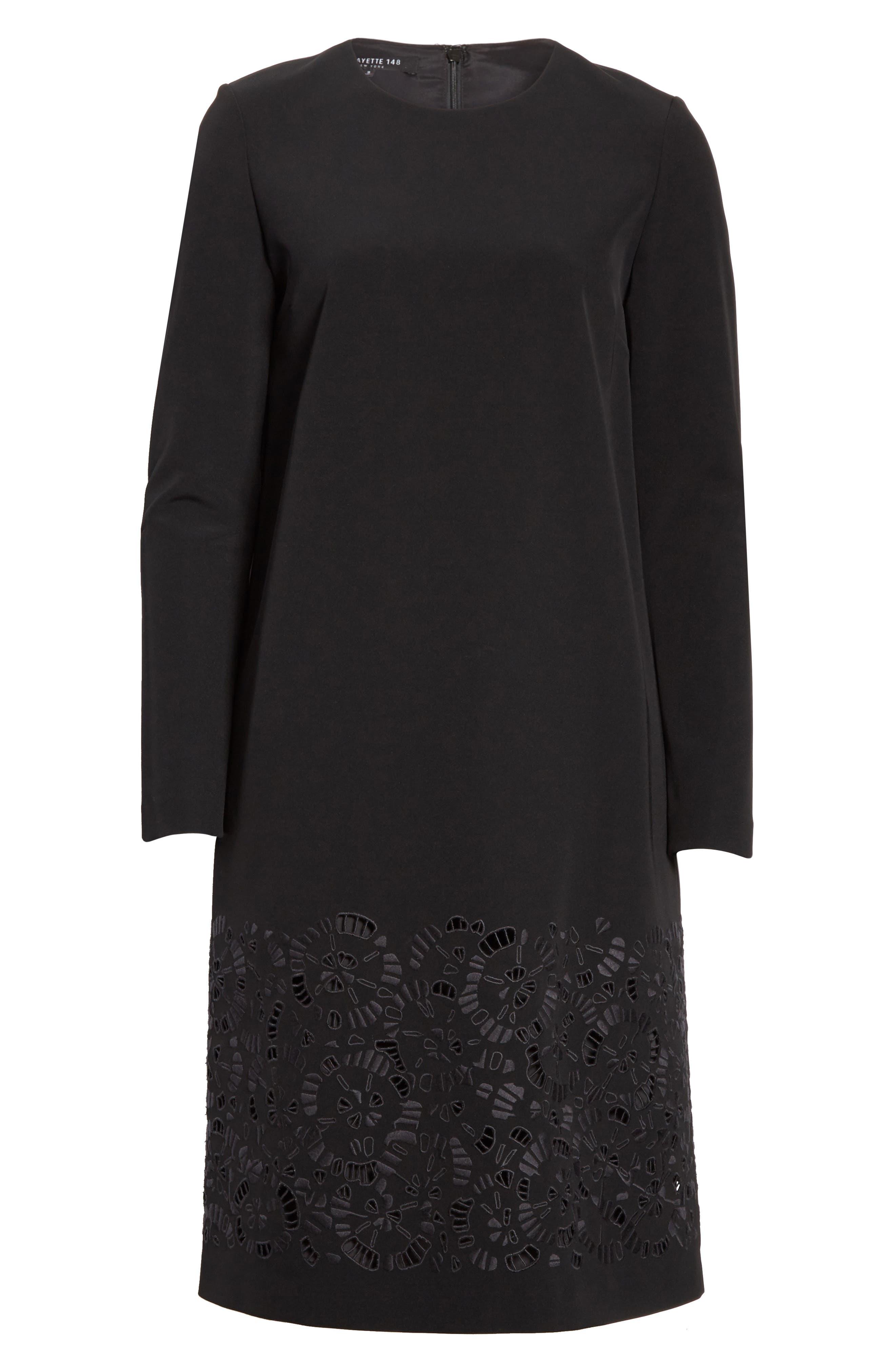 Corbin Embroidered Laser Cut Dress,                             Alternate thumbnail 7, color,                             Black