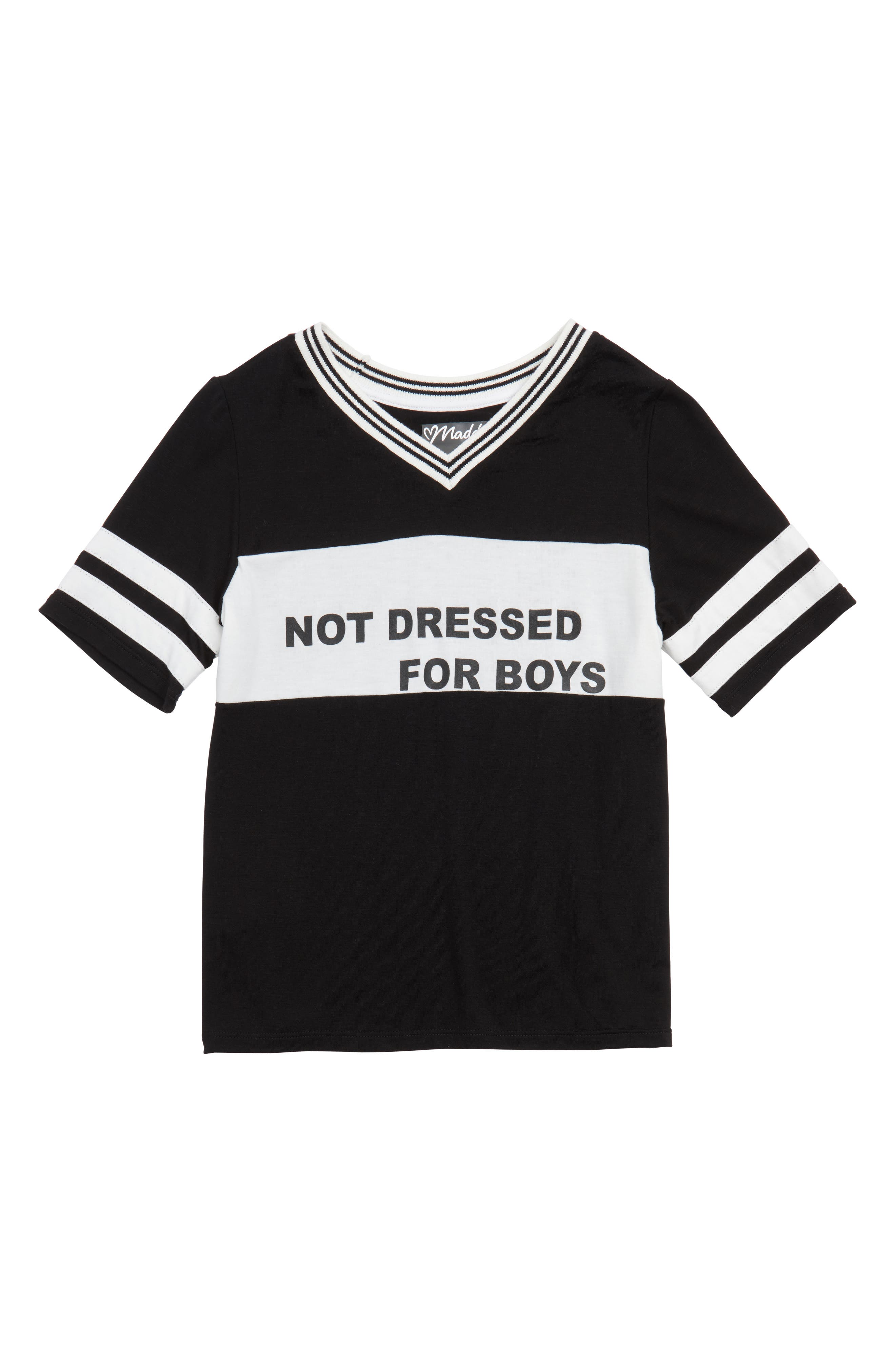 Not Dressed for Boys Tee,                             Main thumbnail 1, color,                             Black