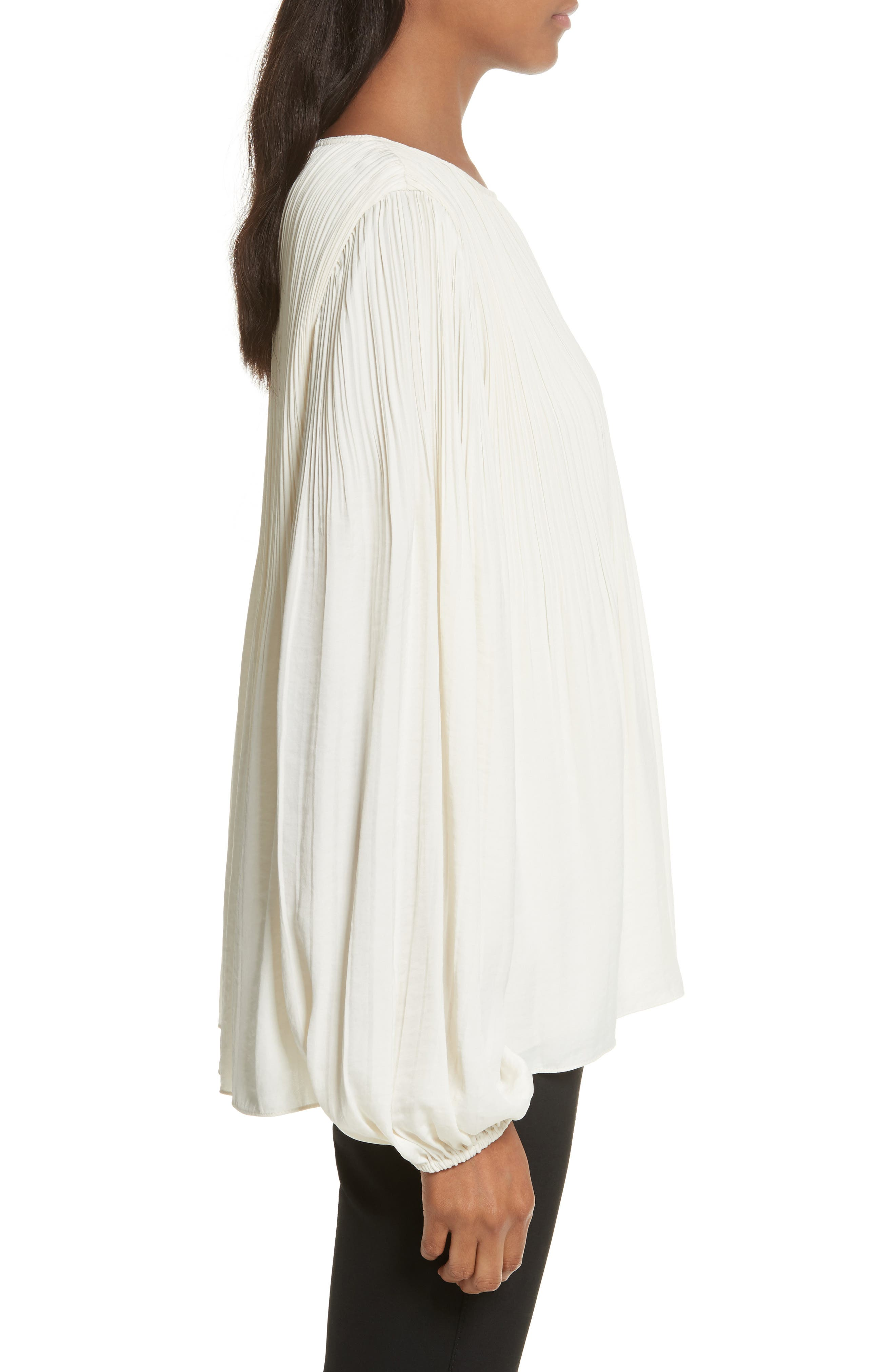 Grove Pleated Blouse,                             Alternate thumbnail 3, color,                             Alabaster