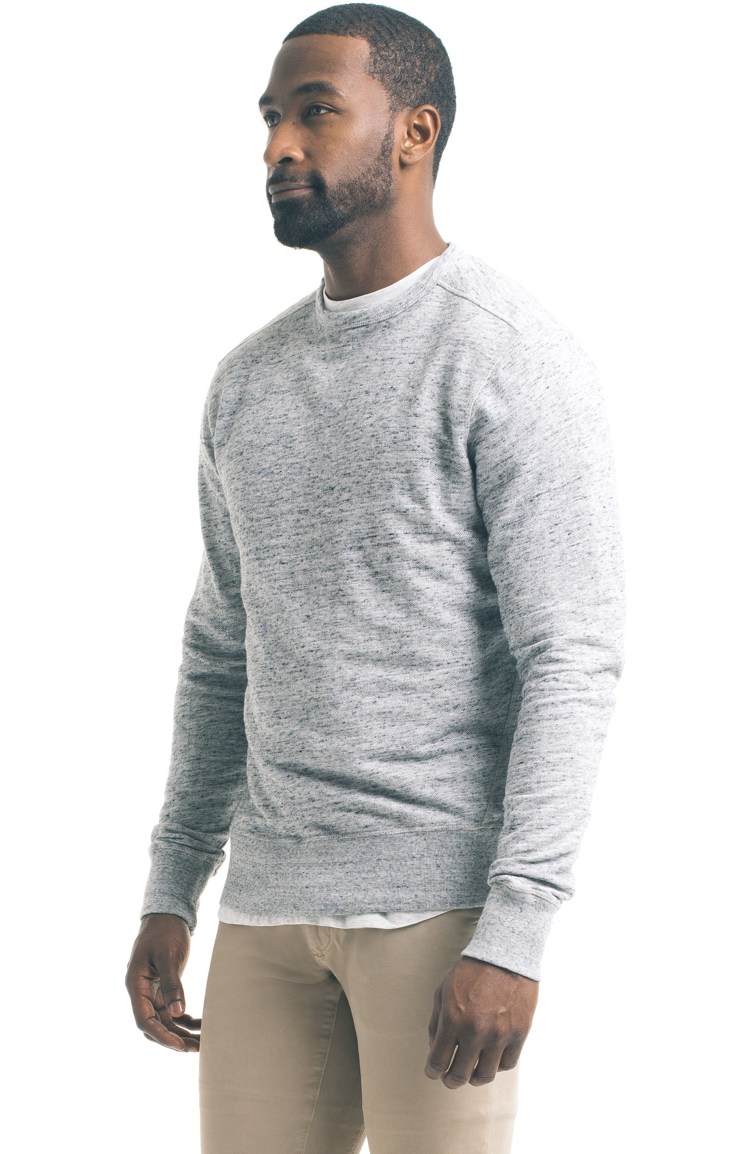 Varsity Slim Slub Sweatshirt,                             Alternate thumbnail 4, color,                             Charcoal Heather