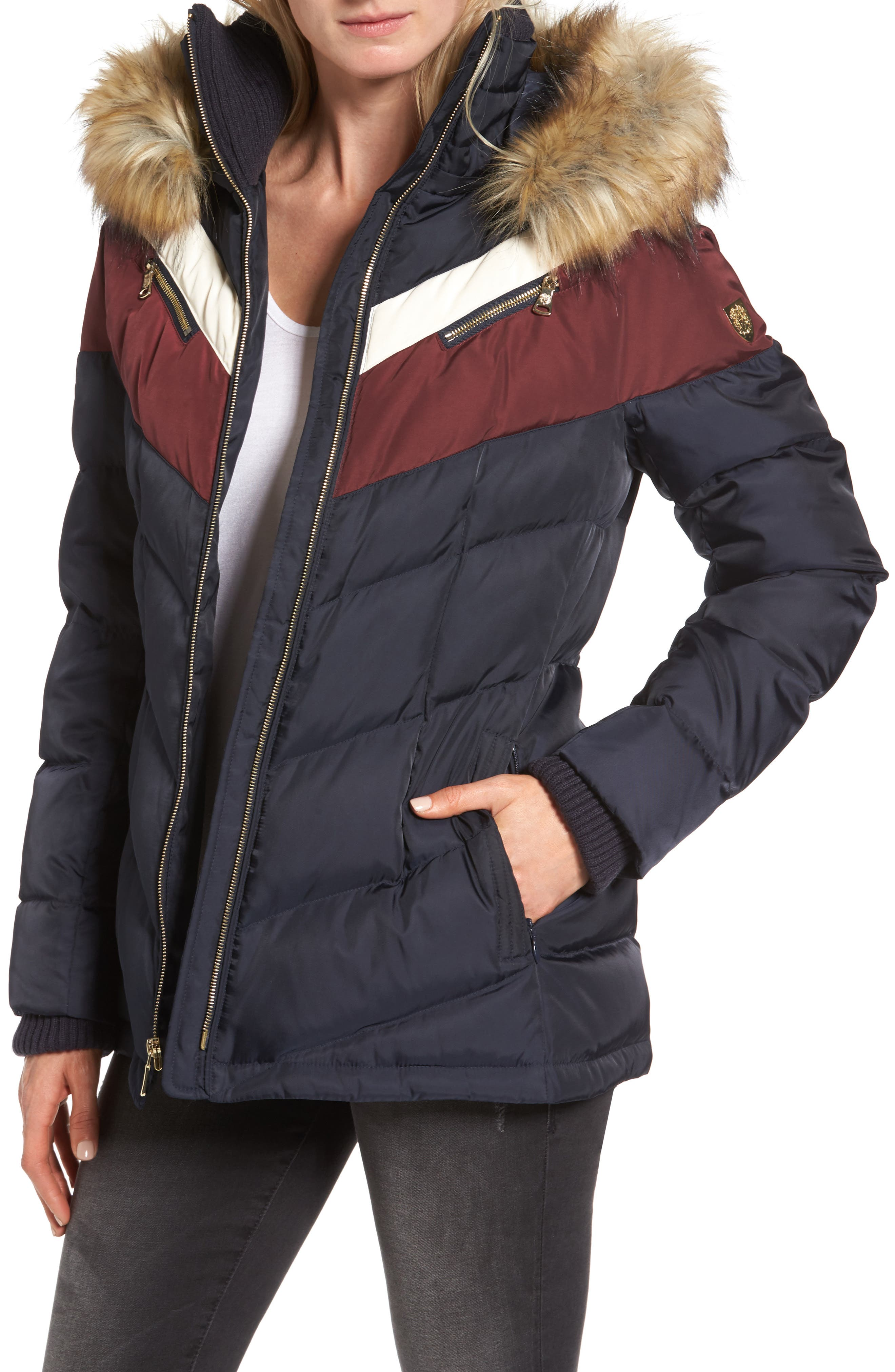 Belted Down & Feather Fill Coat with Faux Fur Trim Hood,                             Main thumbnail 1, color,                             Navy/Multi
