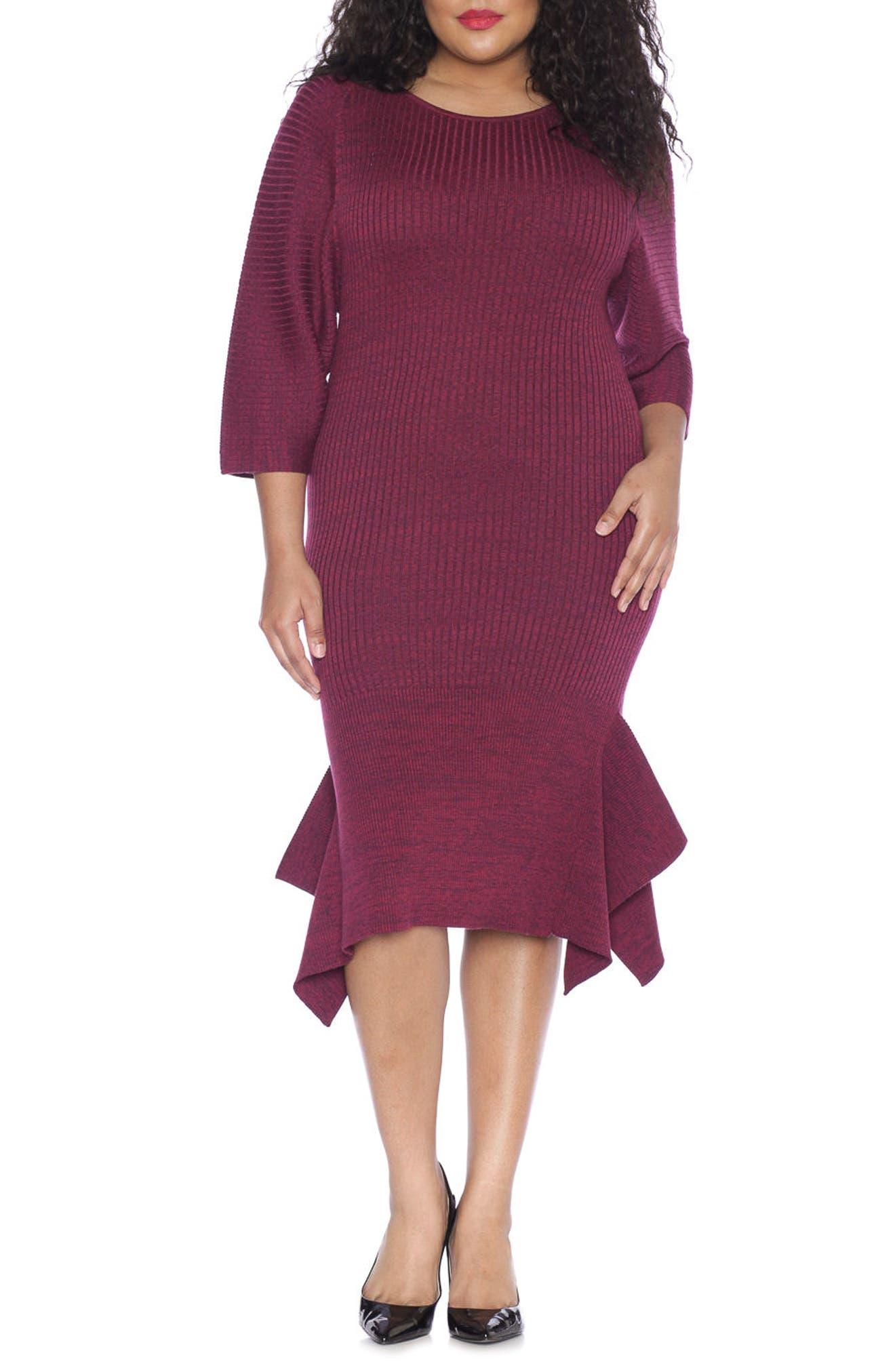 SLINK Jeans Handkerchief Hem Sweater Dress (Plus Size)