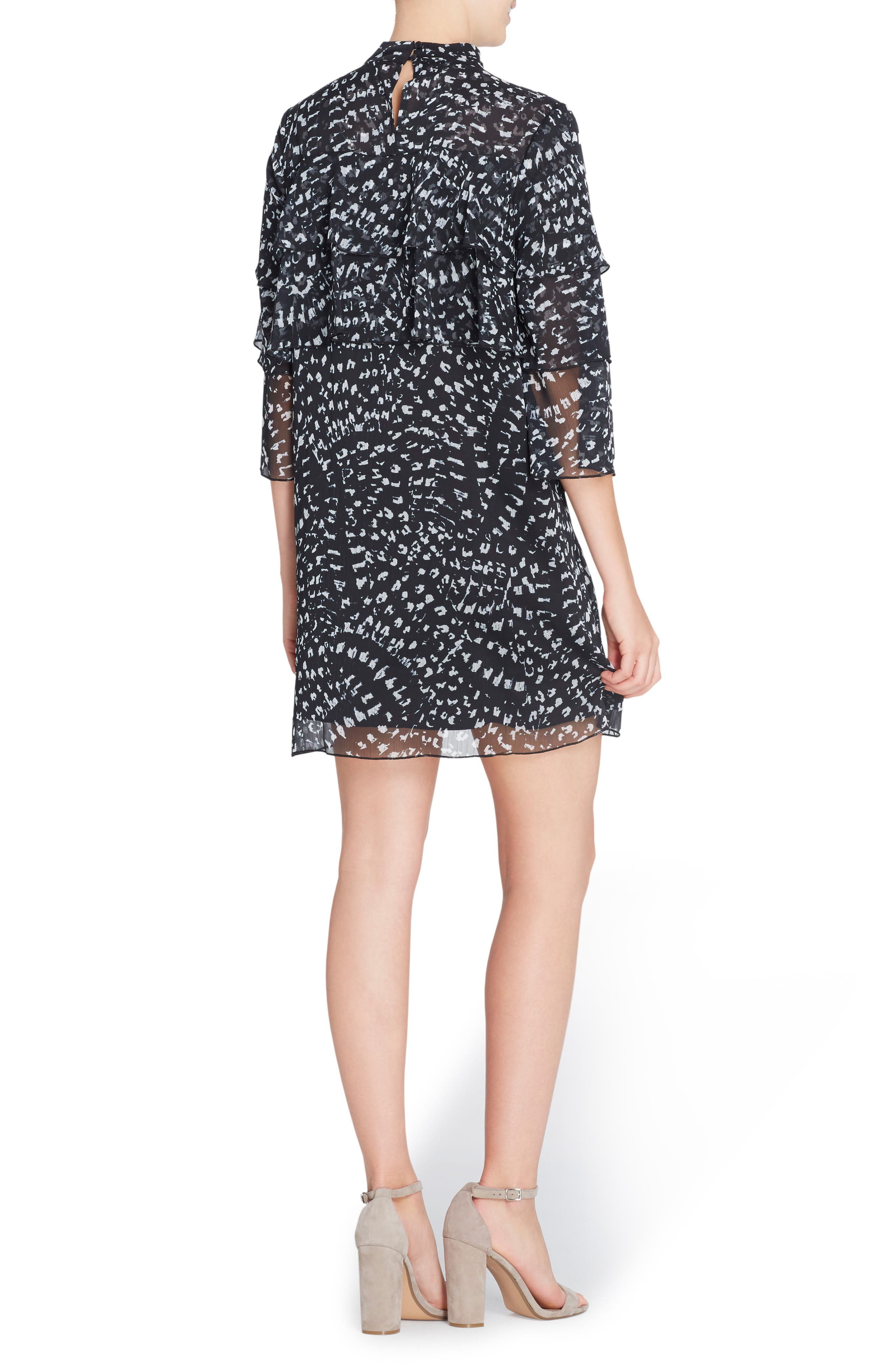 Cass Print Chiffon Dress,                             Alternate thumbnail 2, color,                             Texture Animal