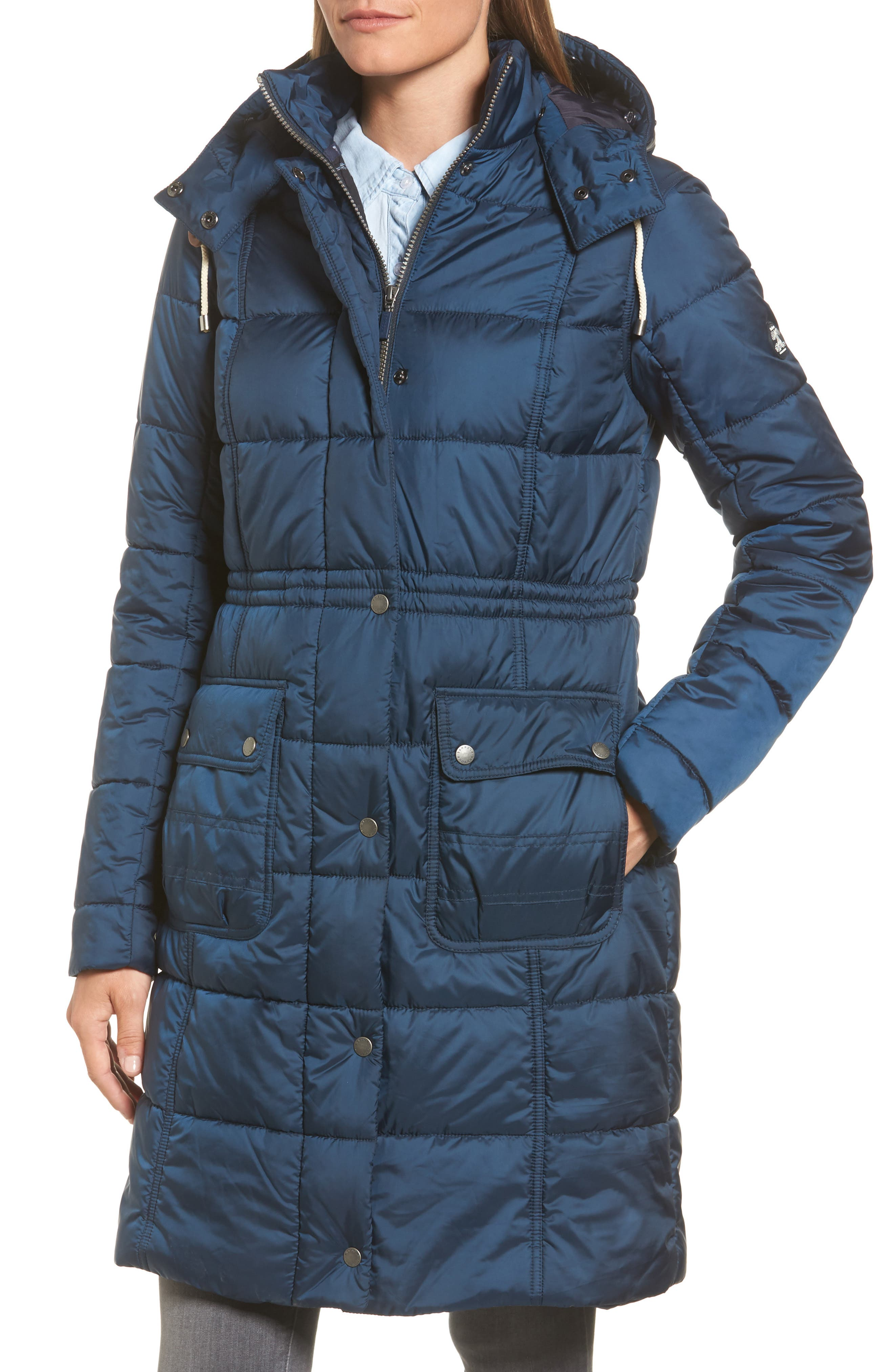 Winterton Water Resistant Hooded Quilted Jacket with Faux Fur Trim,                             Alternate thumbnail 4, color,                             French Navy