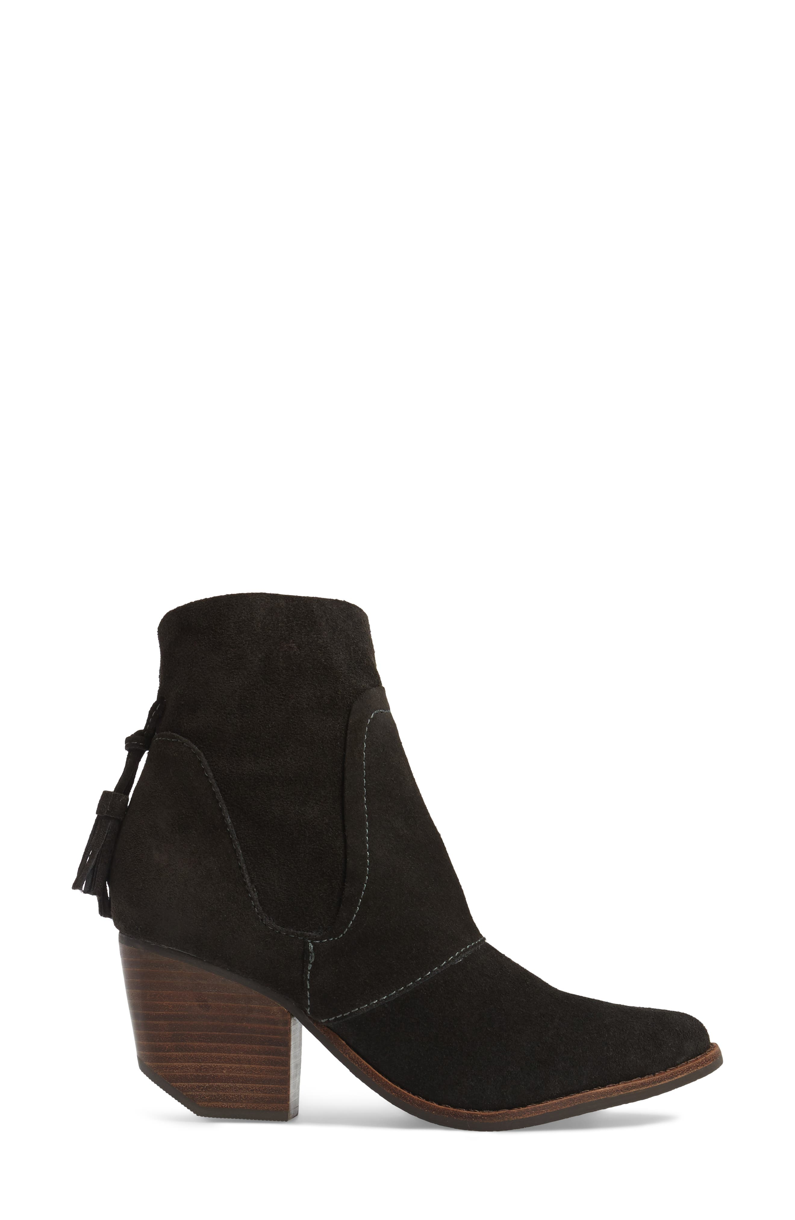 Laney Notched Heel Bootie,                             Alternate thumbnail 3, color,                             Forest Suede