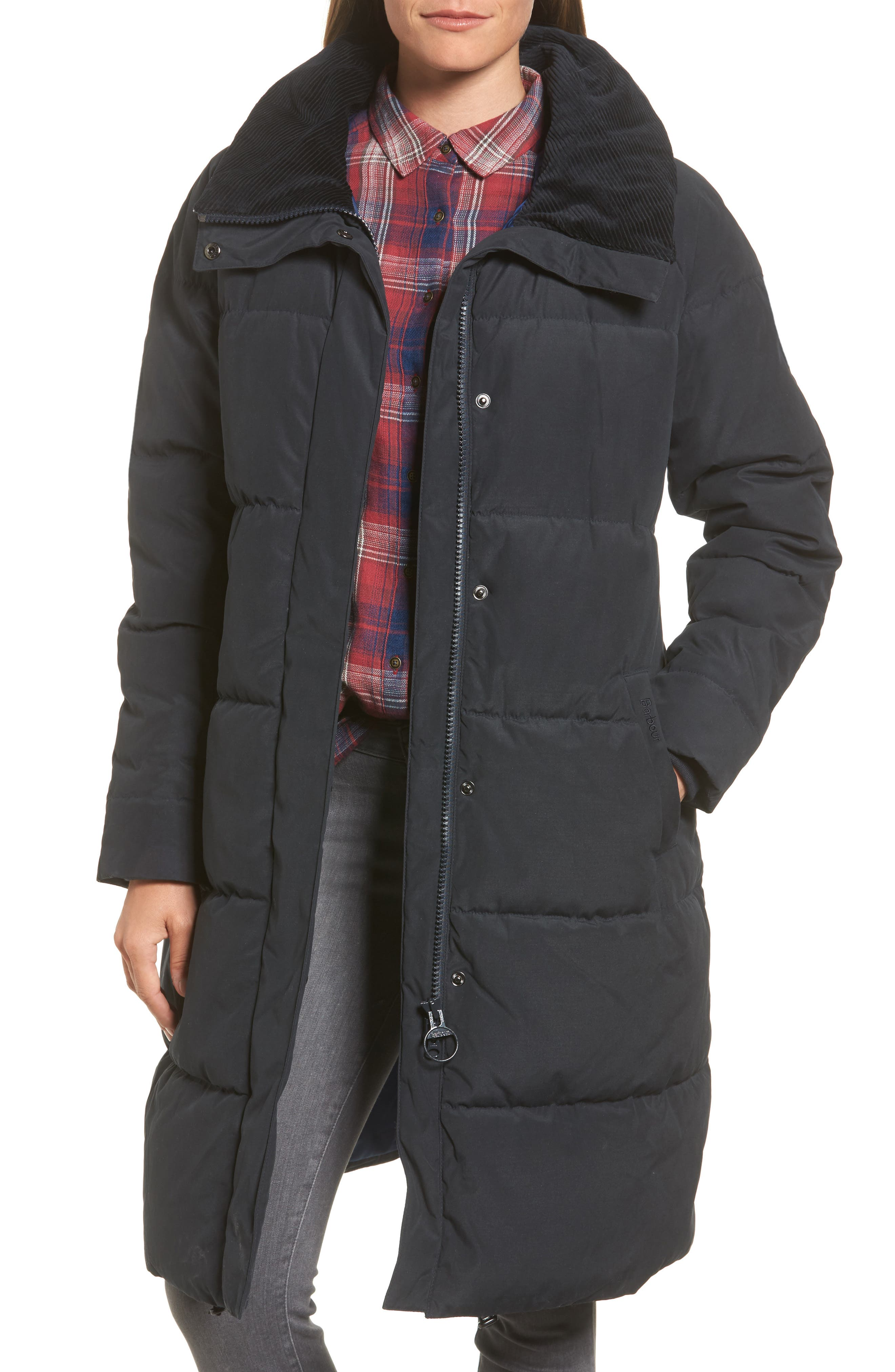 Leck Water Resistant Baffle Quilted Coat,                         Main,                         color, Navy