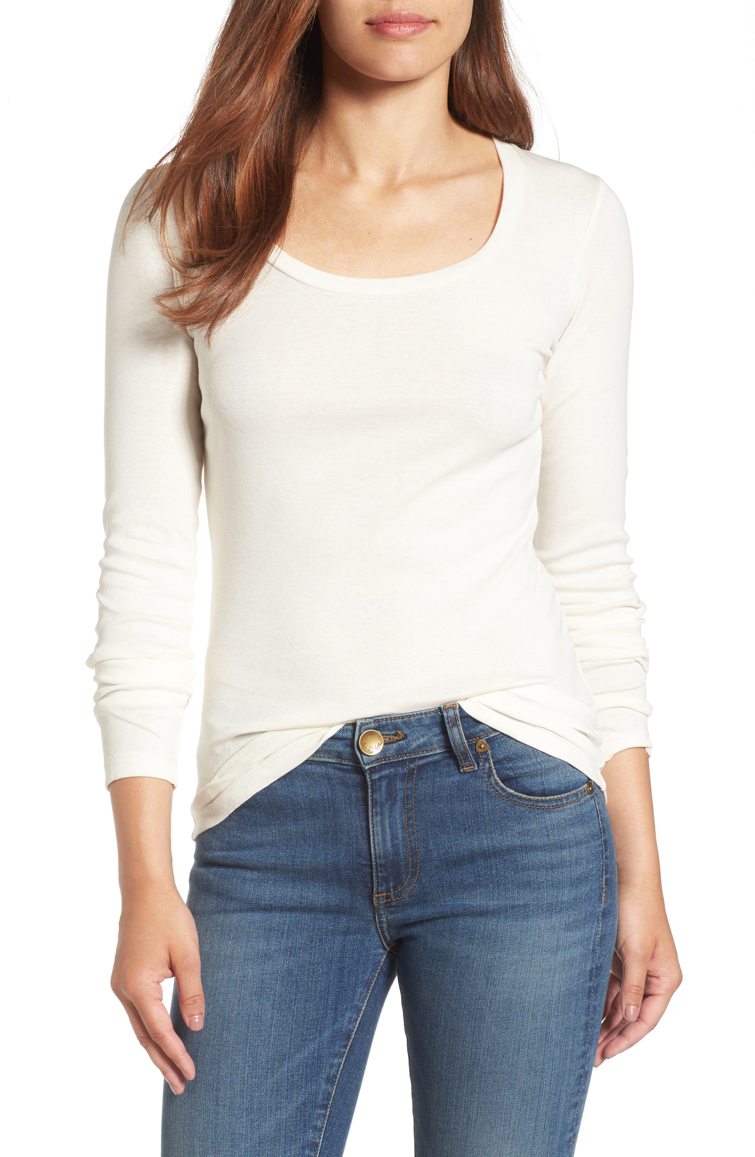 Caslon® 'Melody' Long Sleeve Scoop Neck Tee (Regular & Petite)