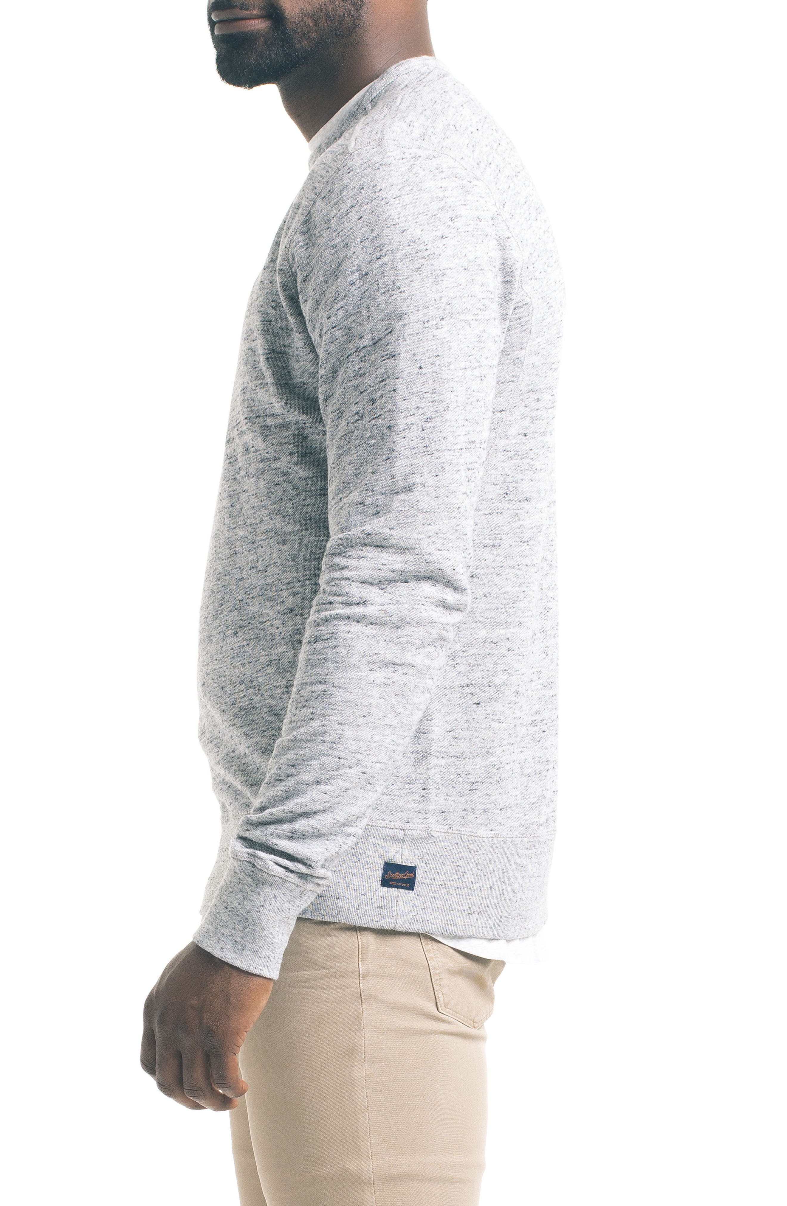 Varsity Slim Slub Sweatshirt,                             Alternate thumbnail 3, color,                             Charcoal Heather