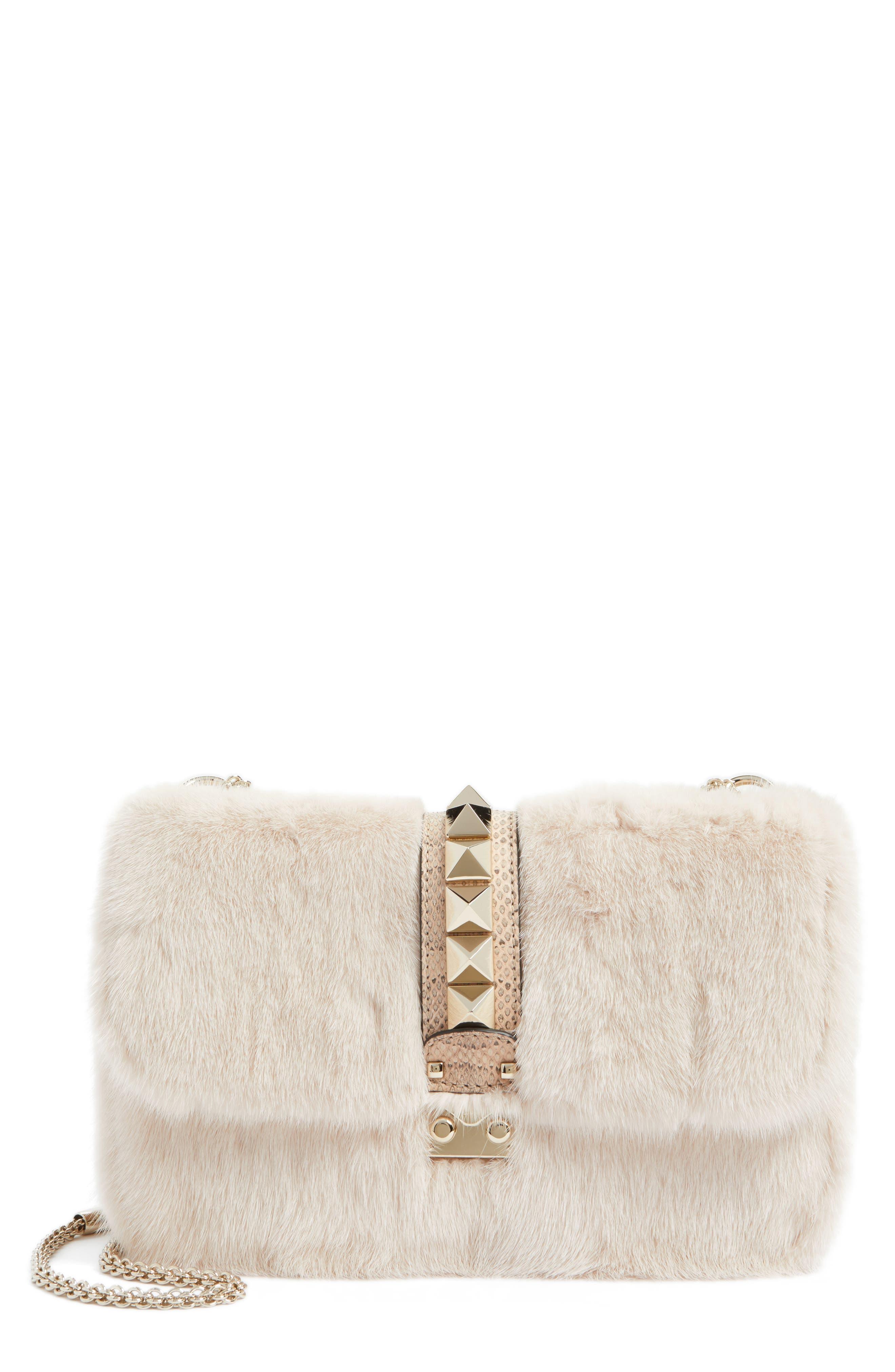 Main Image - VALENTINO GARAVANI Small Lock Genuine Mink Fur & Snakeskin Shoulder Bag