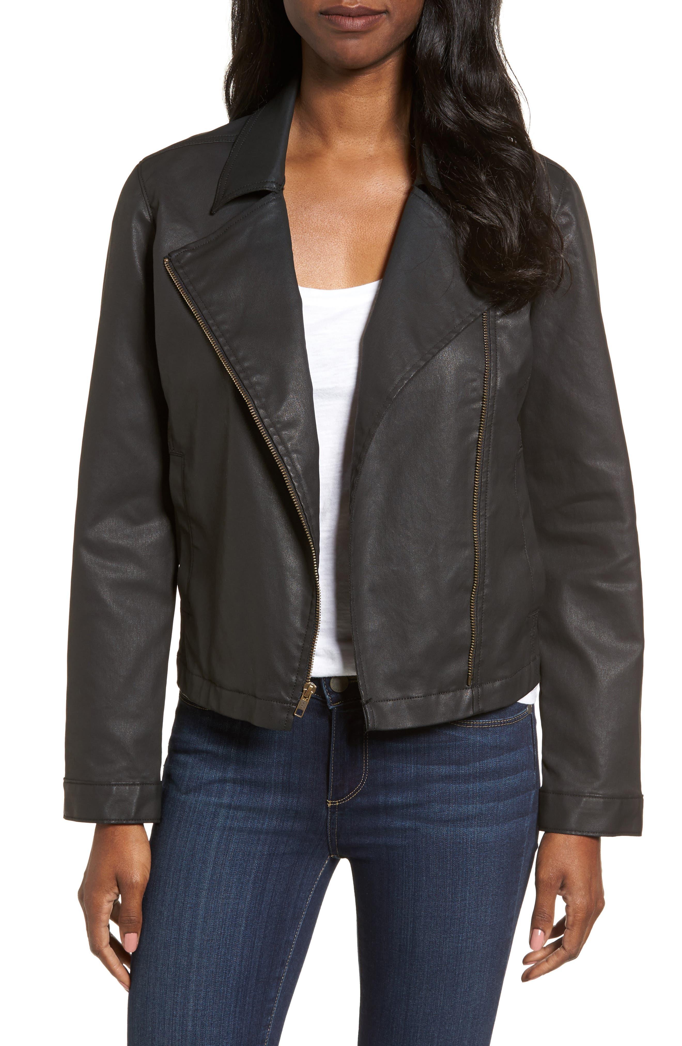 Waxed Moto Jacket,                         Main,                         color, Black