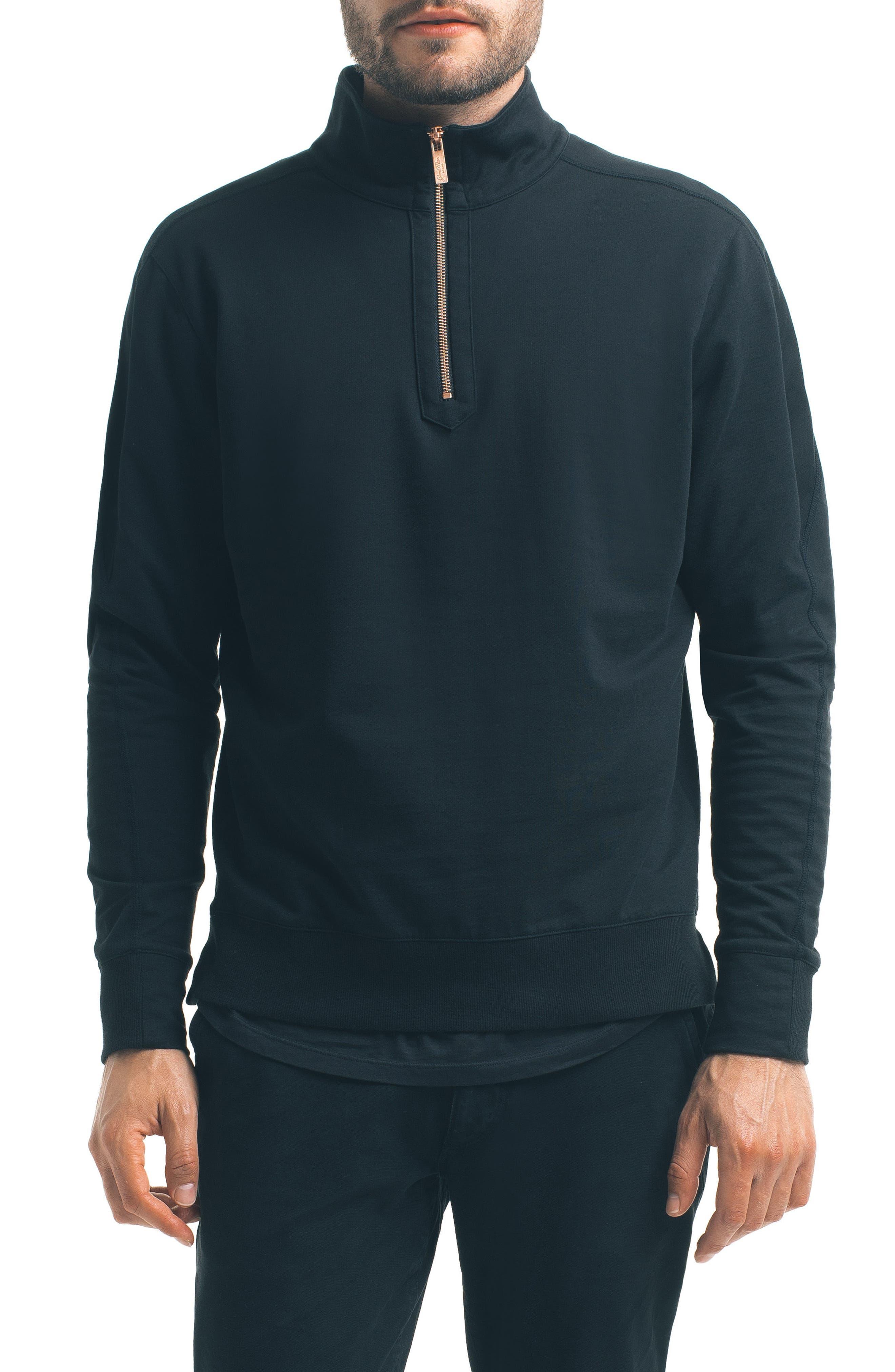 Slim Pro Quarter Zip Pullover,                             Main thumbnail 1, color,                             Black