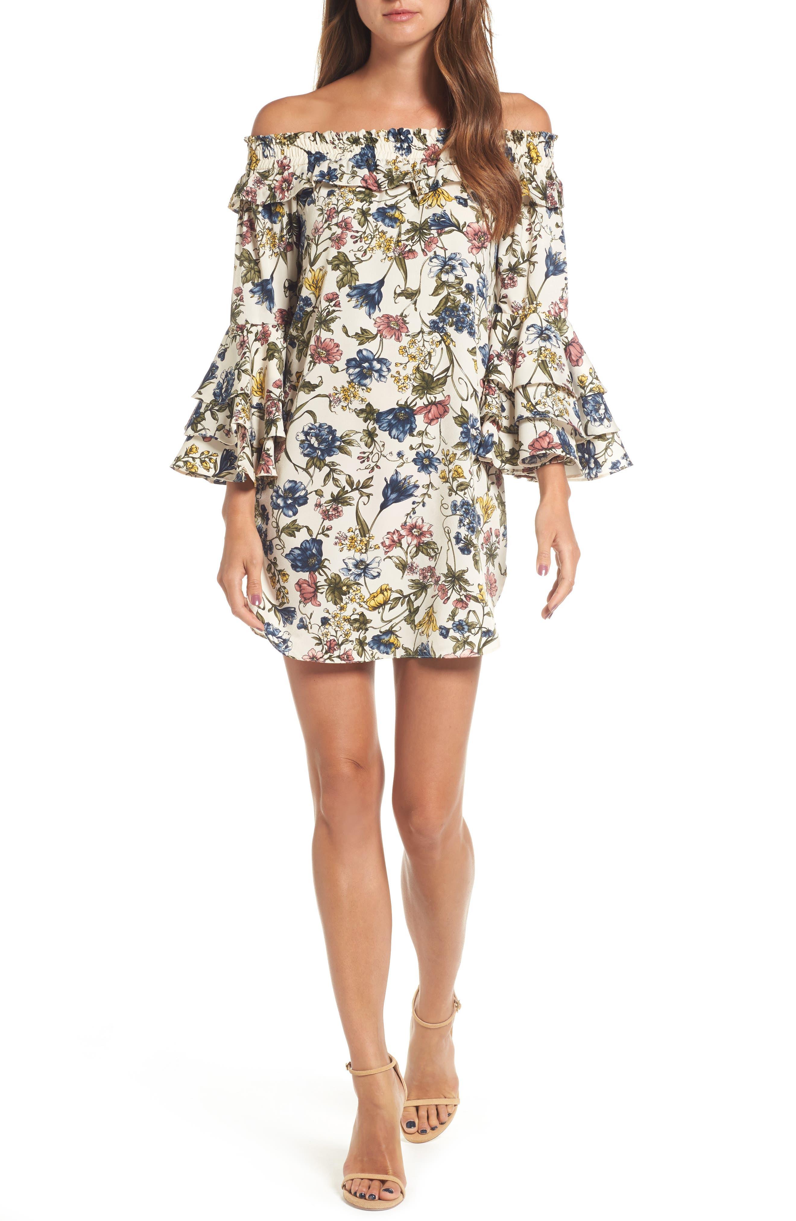 Amal Off the Shoulder Shift Dress,                         Main,                         color, Ivory Multi