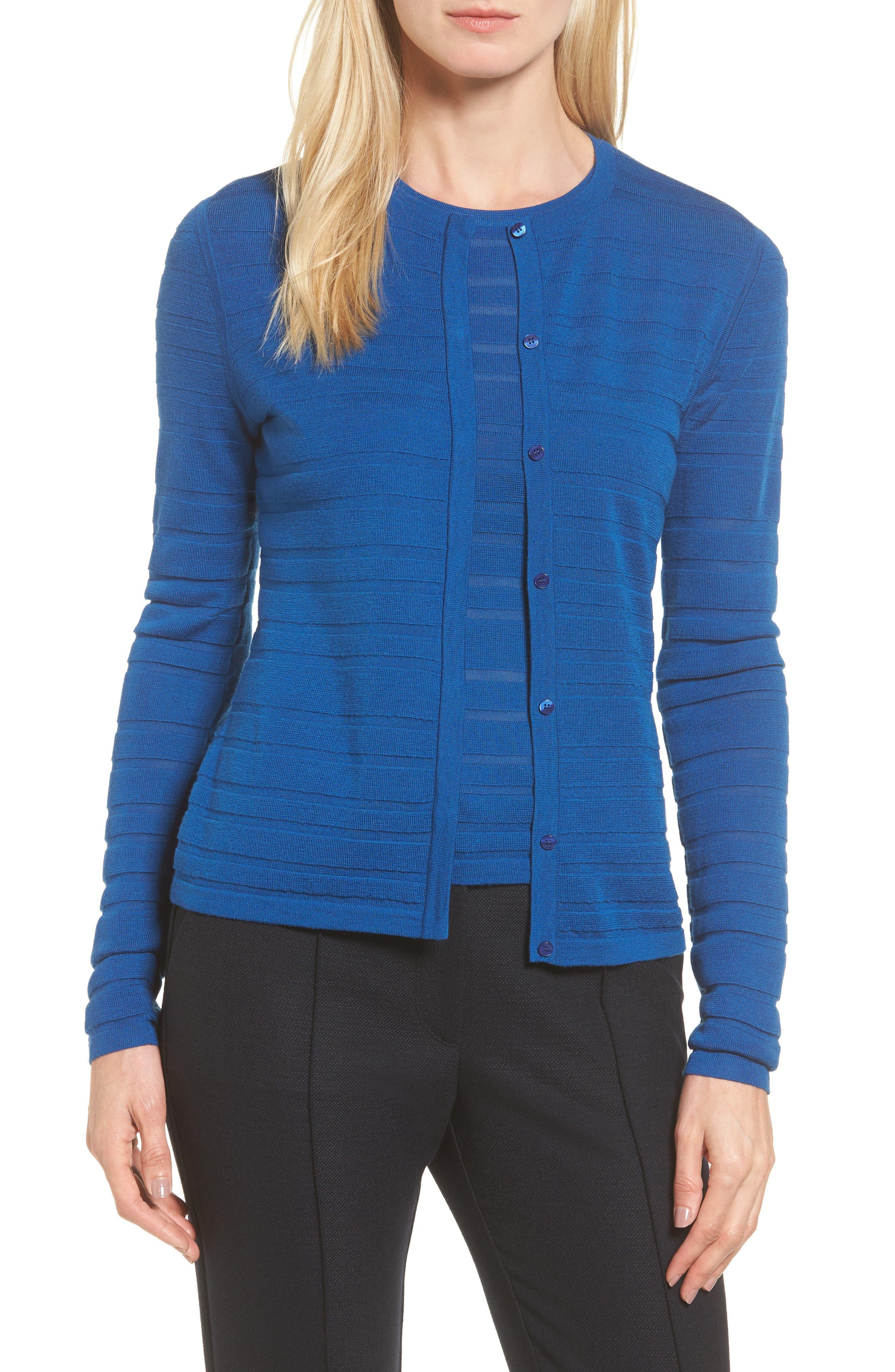 Fahsa Stripe Textured Wool Cardigan,                         Main,                         color, Gentian Blue