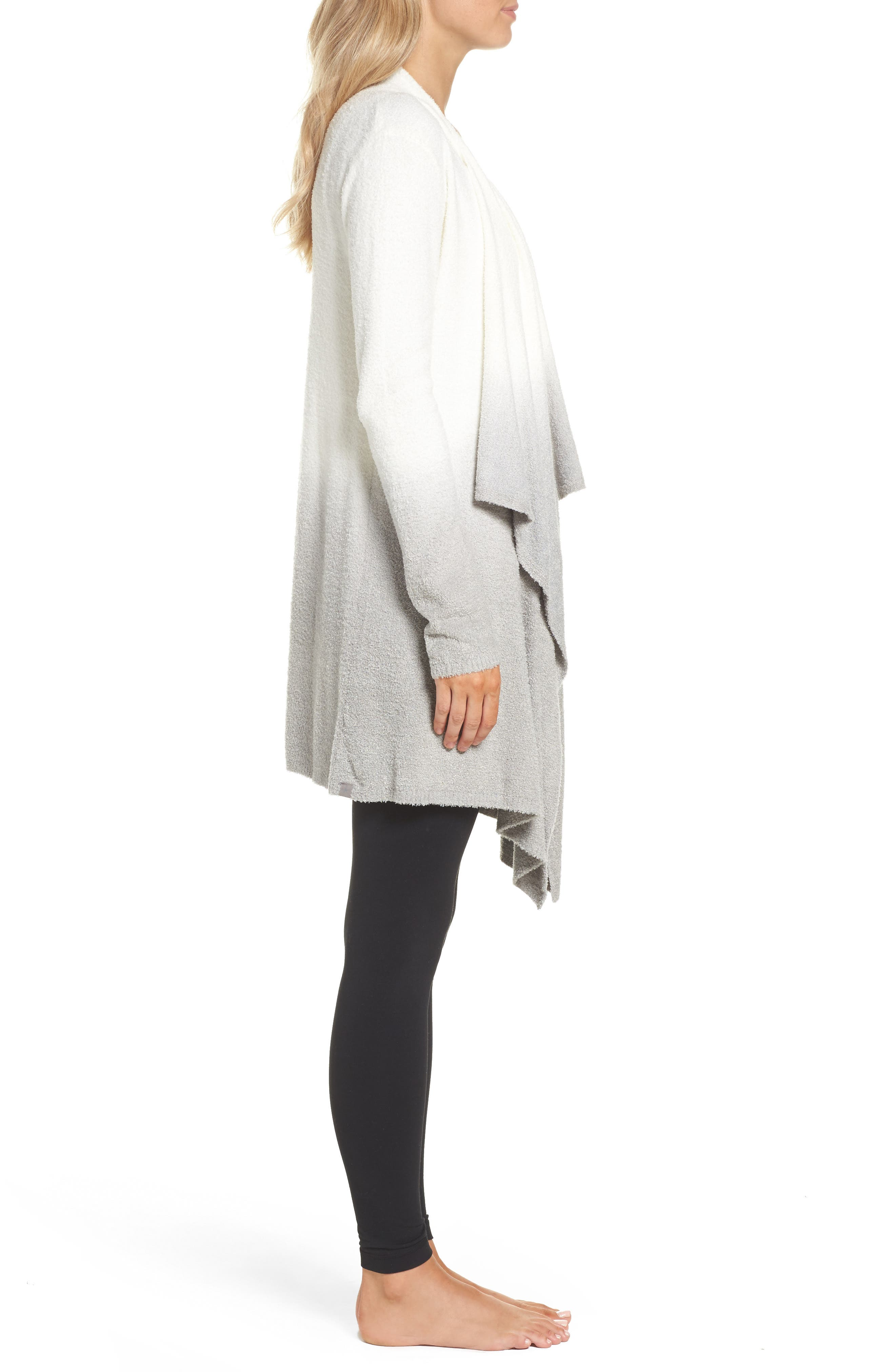 CozyChic Lite<sup>®</sup> Calypso Wrap Cardigan,                             Alternate thumbnail 3, color,                             White/ Pewter Ombre