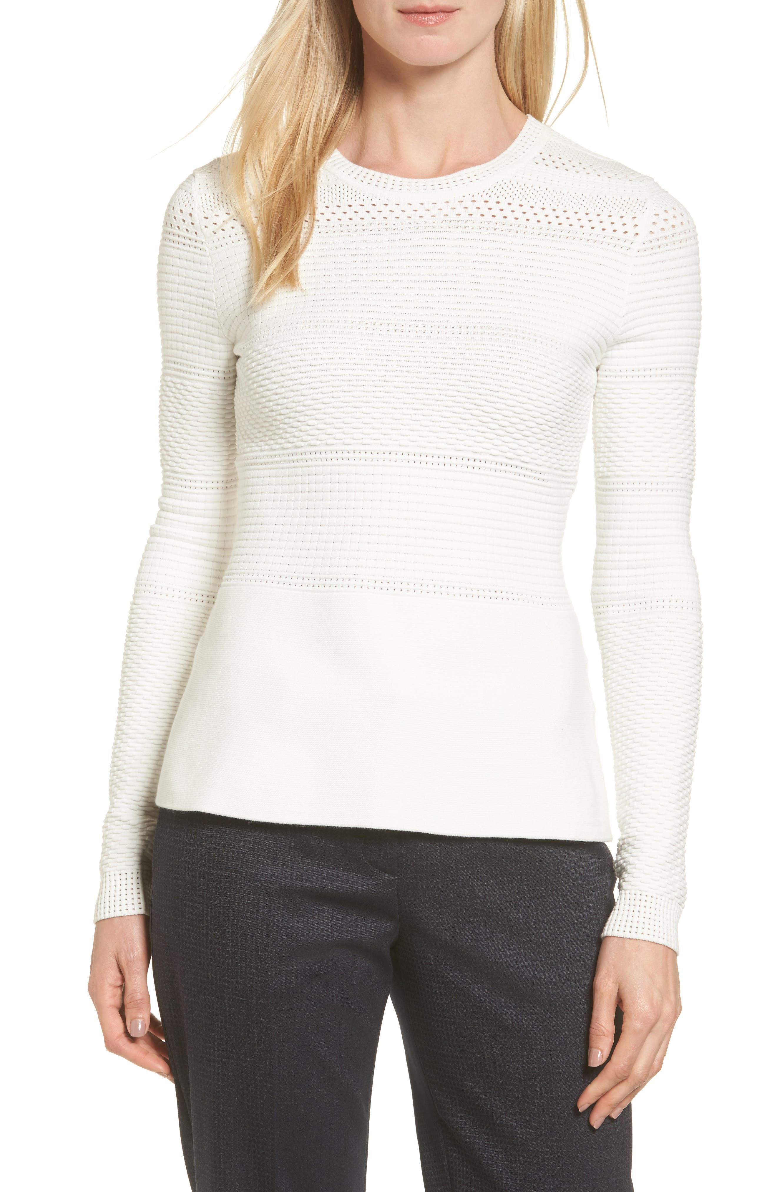 Alternate Image 1 Selected - BOSS Funda Mixed Stitch Sweater
